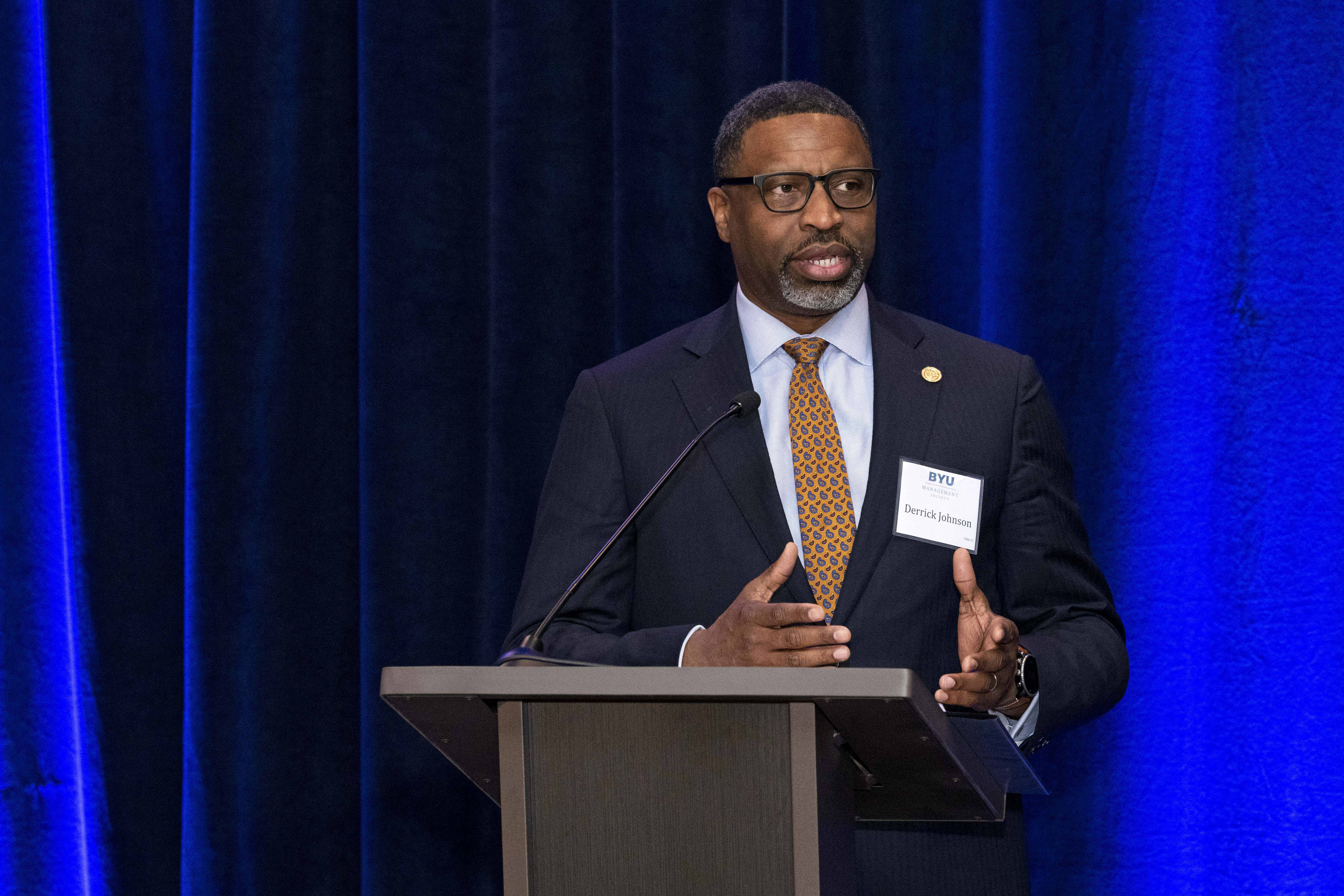 NAACP President and CEO Derrick Johnson speaks to the BYU Management Society event in Washington, D.C., May 11, 2019.