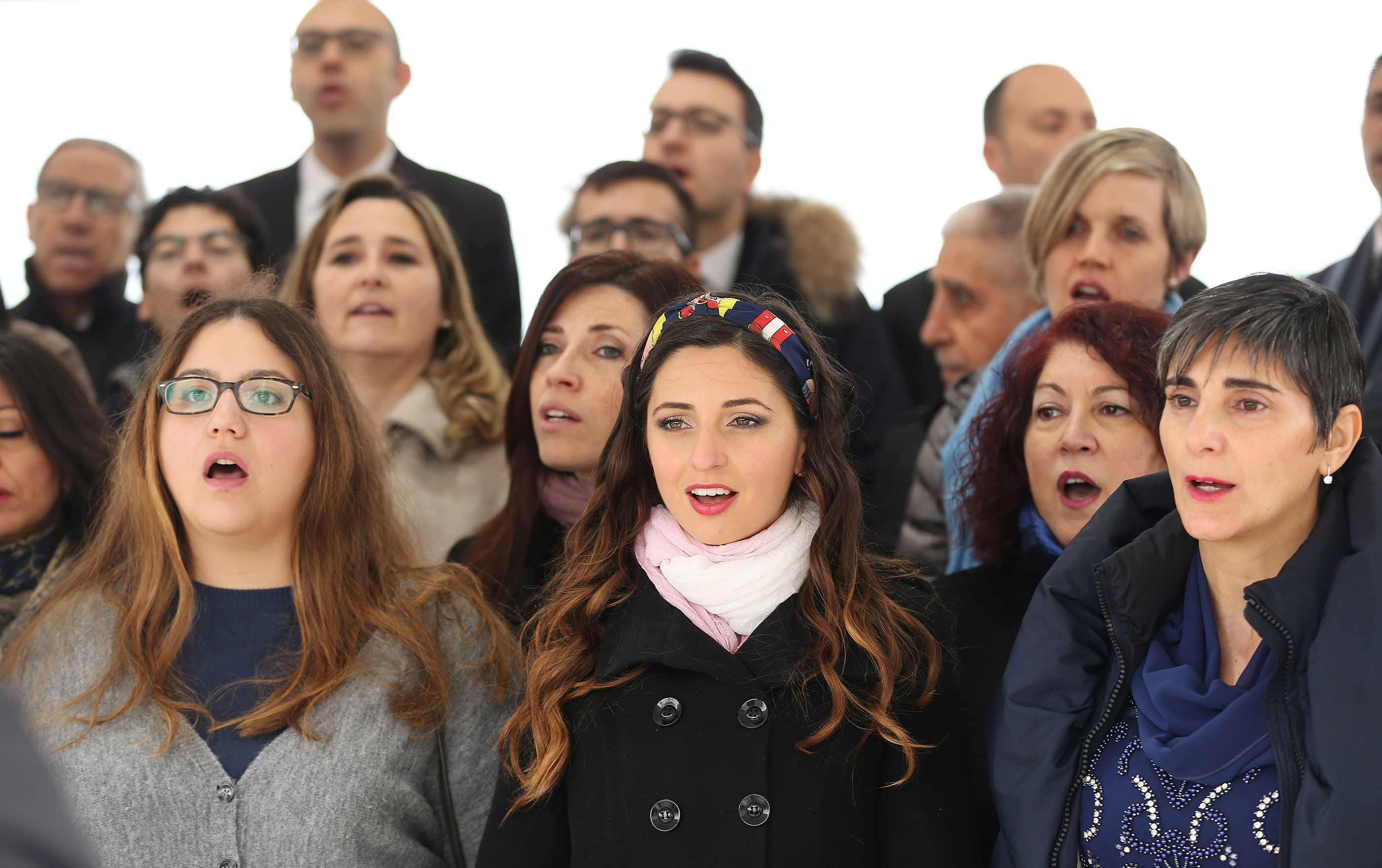 A choir sings at the cornerstone ceremony of the dedication of the Rome Italy Temple of The Church of Jesus Christ of Latter-day Saints in Rome, Italy, on Sunday, March 10, 2019.