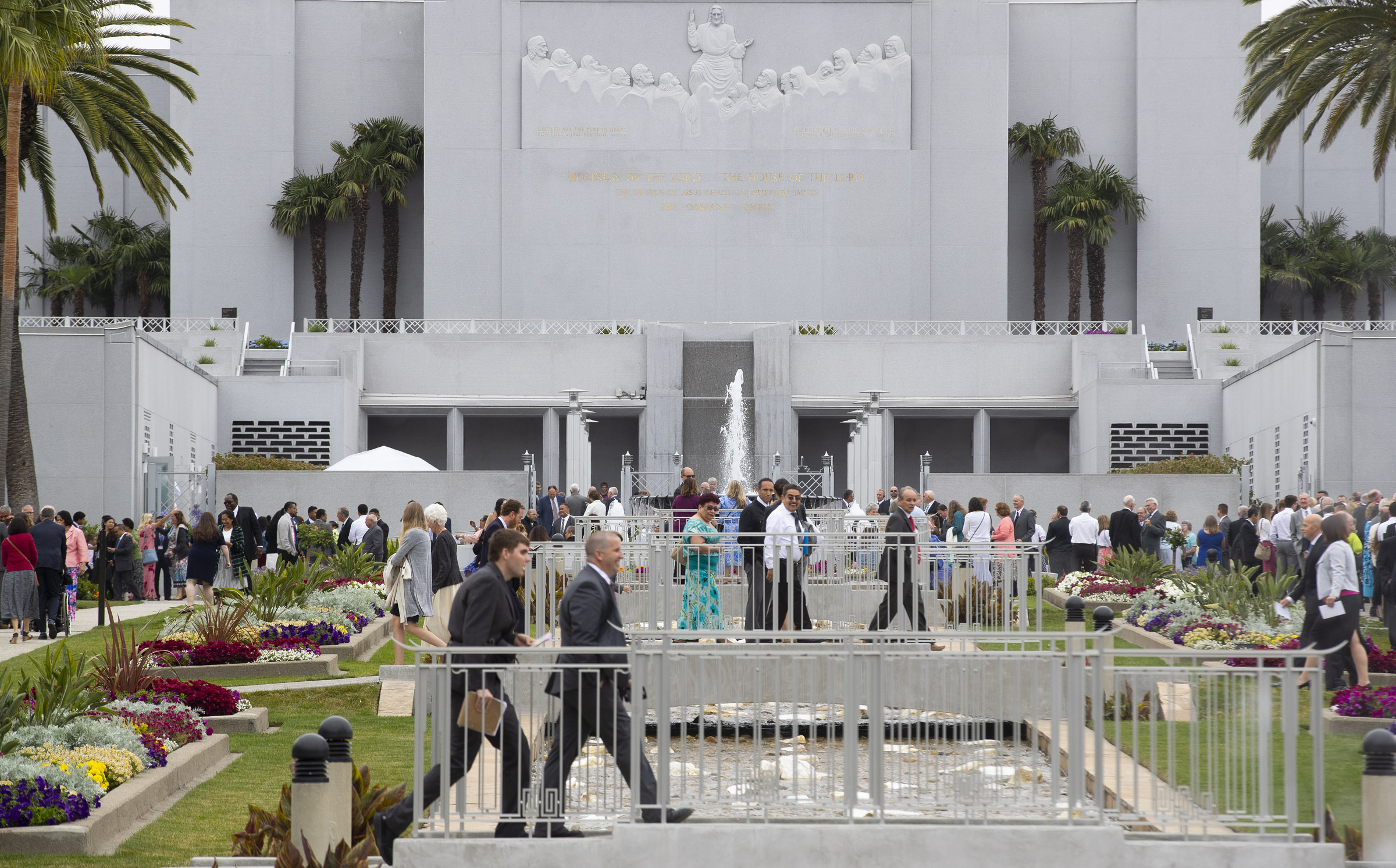 Latter-day Saints enjoy the gardens outside the Oakland California Temple as President Dallin H. Oaks, first counselor in the First Presidency, rededicated the building on Sunday, June 16, 2019.