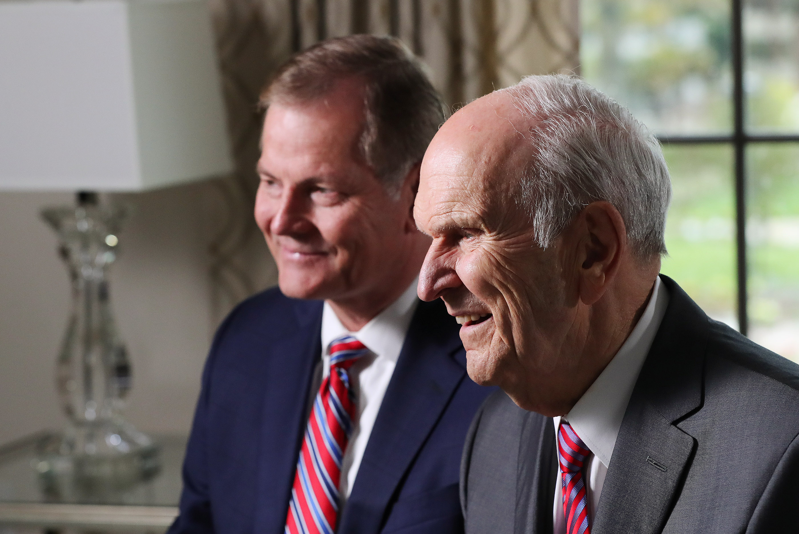 President Russell M. Nelson of The Church of Jesus Christ of Latter-day Saints, right, and Elder Gary E. Stevenson of the Quorum of the Twelve Apostles, left, speak during a news conference after the dedication of the Concepcion Chile Temple on Sunday, Oct. 28, 2018, in Concepcion, Chile.