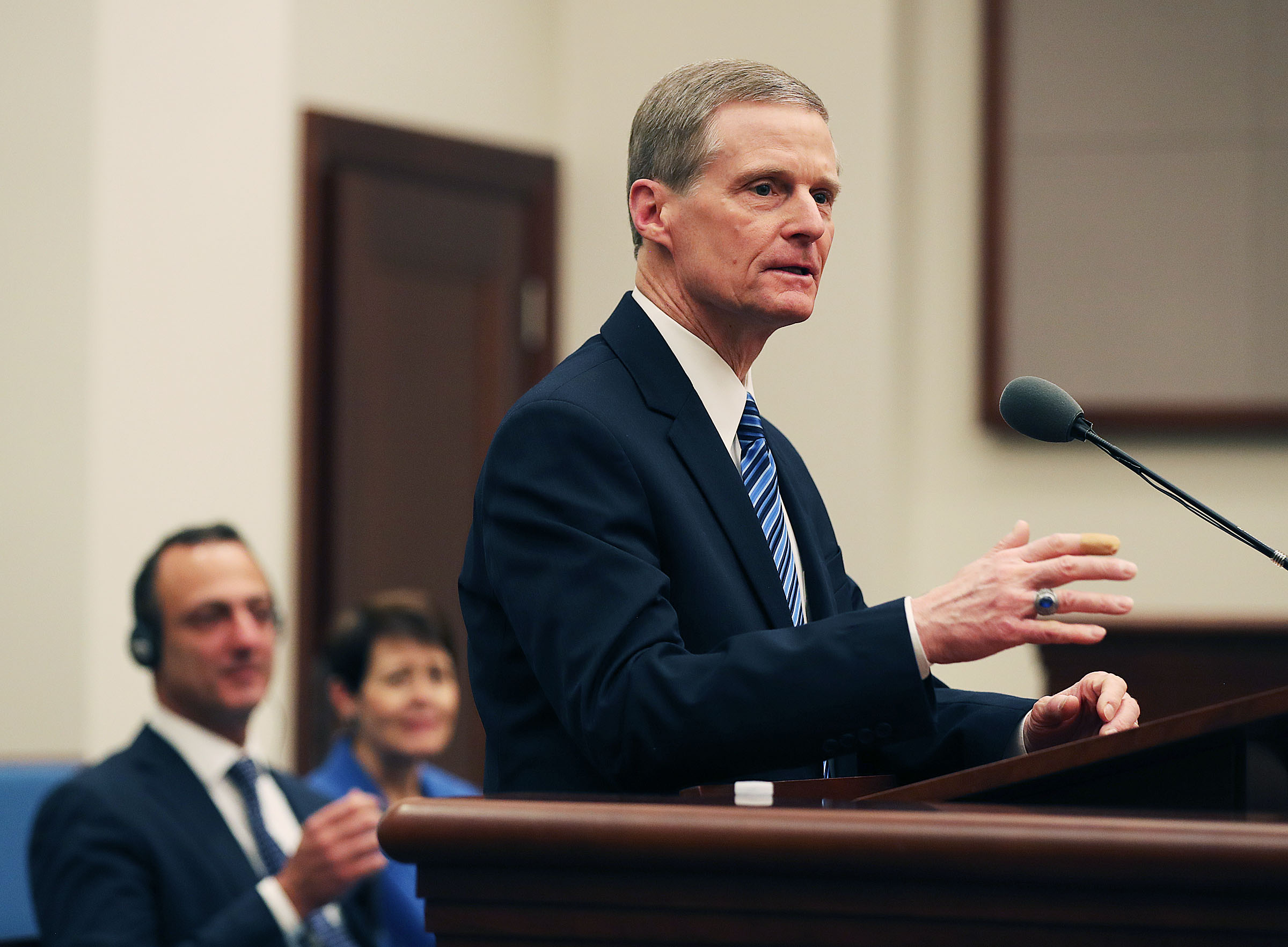 Elder David A. Bednar of the Quorum of the Twelve Apostles of The Church of Jesus Christ of Latter-day Saints speaks during a press briefing at a meetinghouse on the Rome Italy Temple grounds on Monday, Jan. 14, 2019.