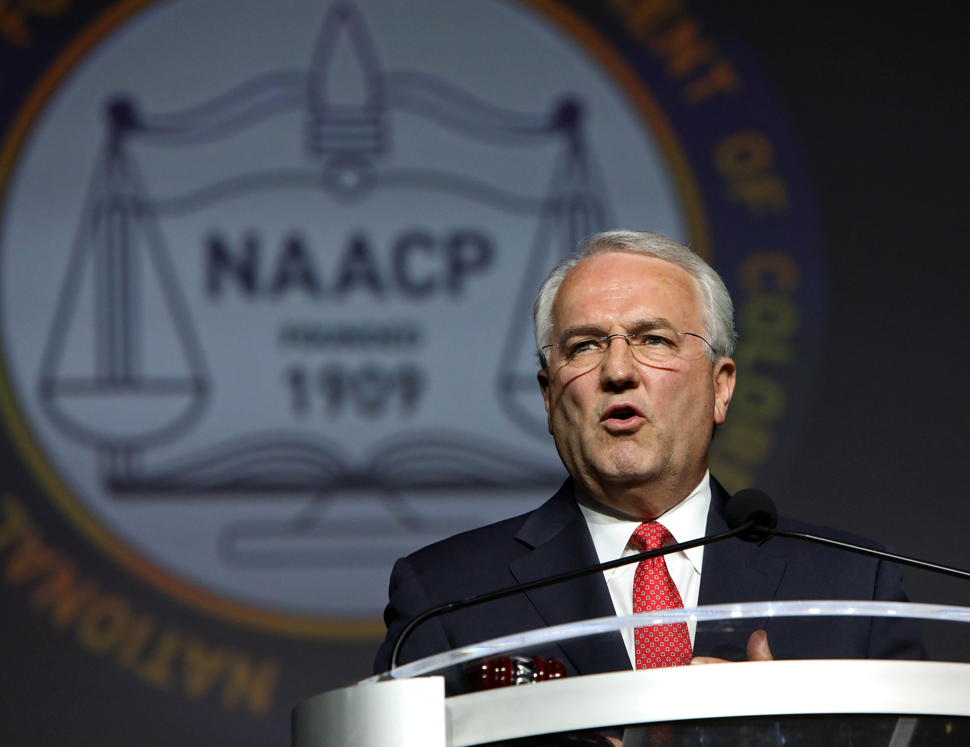 Elder Jack N. Gerard, a General Authority Seventy of The Church of Jesus Christ of Latter-day Saints, announces a new joint education initiative by the LDS Church and the NAACP at the 109th NAACP Annual Convention in San Antonio on Sunday, July 15, 2018.