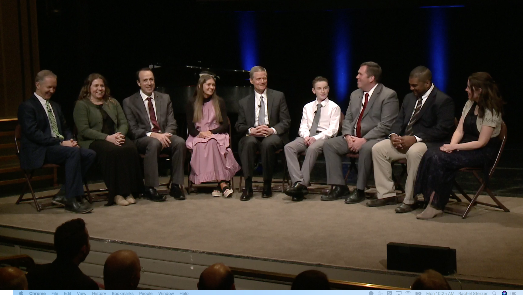 Elder David A. Bednar of the Quorum of the Twelve Apostles, center, participates in a discussion on temple and family history work with a ward council with such responsibilities. The image is from a screenshot from the Feb. 28 broadcast.