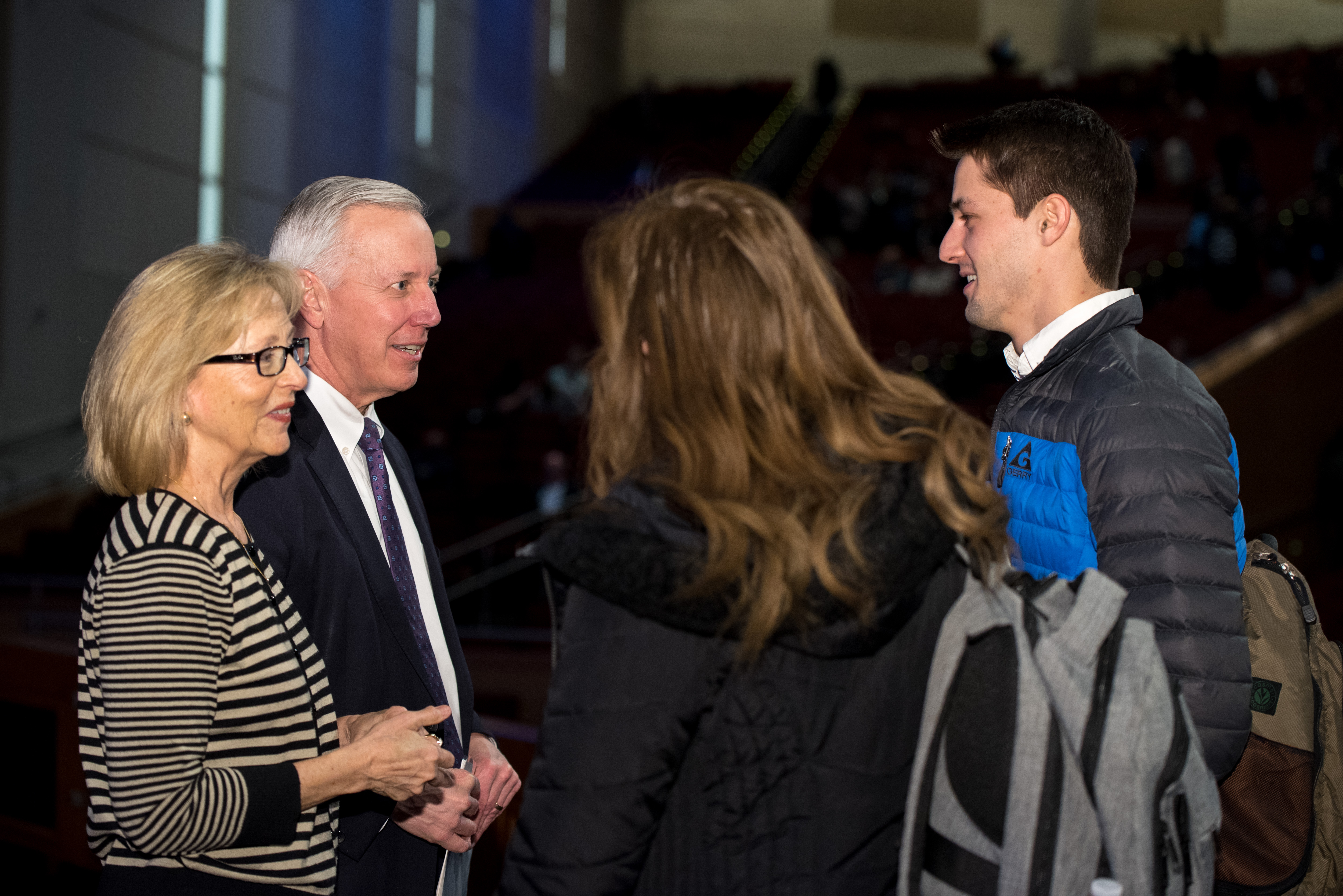 Elder Kevin S. Hamilton, General Authority Seventy, and his wife, Sister Claudia Hamilton, greet students following a BYU-Idaho devotional on March 12, 2019.