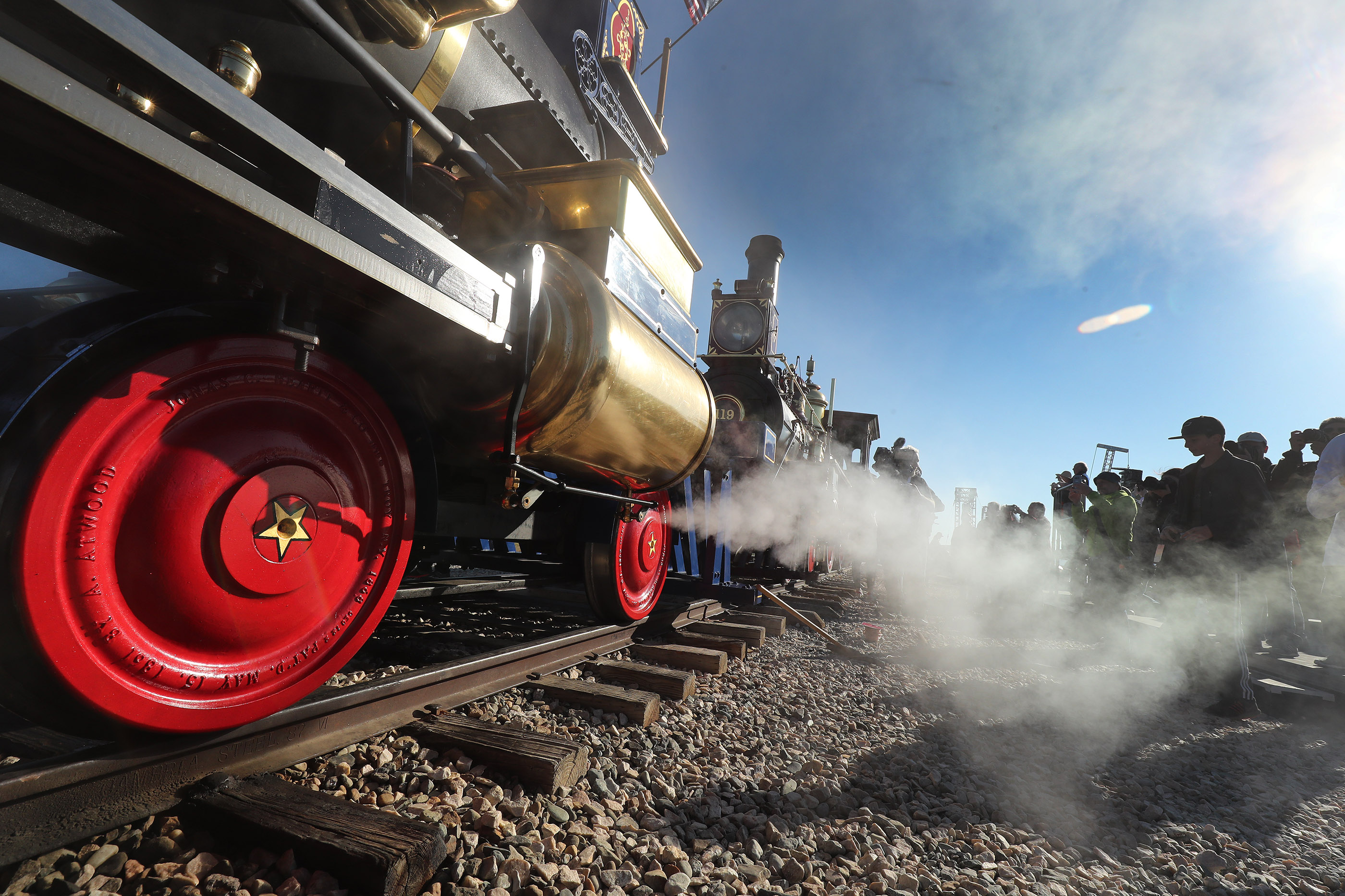 The Jupiter and No. 119 engines are lined up during the 150th anniversary celebration at the Golden Spike National Historical Park at Promontory Summit on Friday, May 10, 2019.