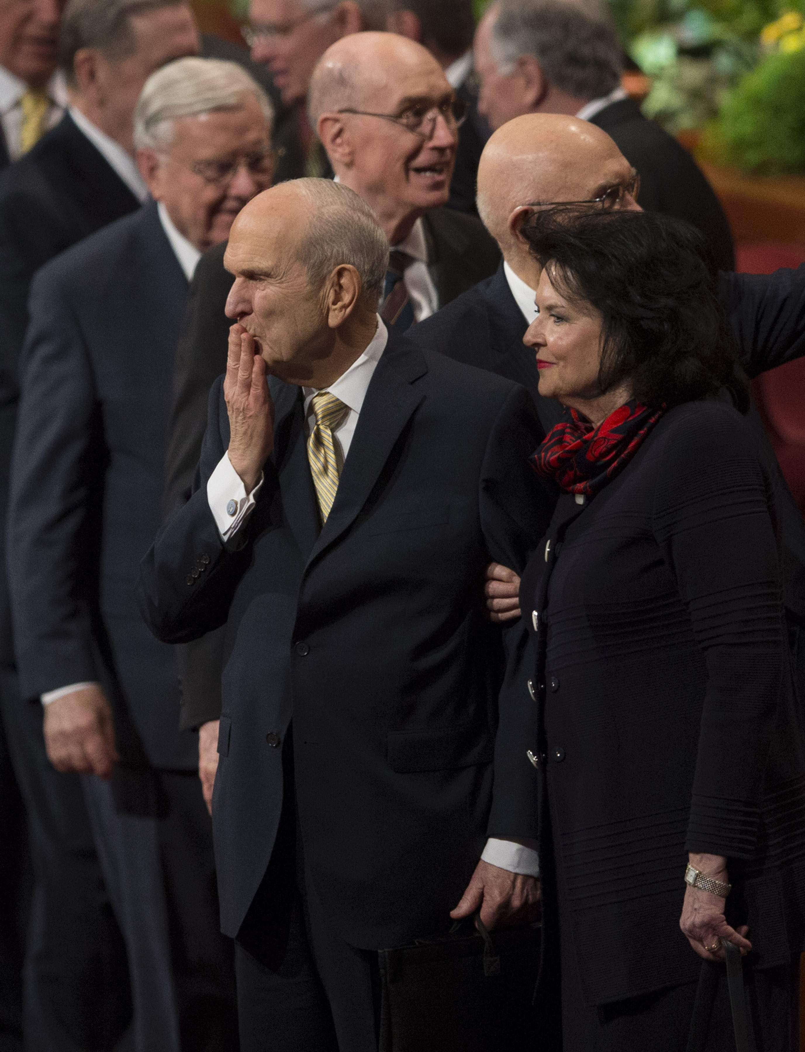 LDS Church President Russell M. Nelson and his wife, Sister Wendy Watson Nelson, exit following the Sunday afternoon session of the 188th Annual General Conference of The Church of Jesus Christ of Latter-day Saints, in the Conference Center in Salt Lake City on Sunday, April 1, 2018.