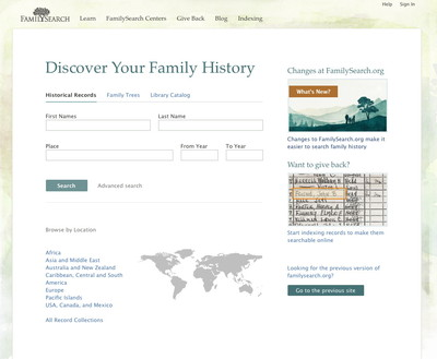 The home page for the FamilySearch.org website. Members and nonmembers can perform family history research at no cost.