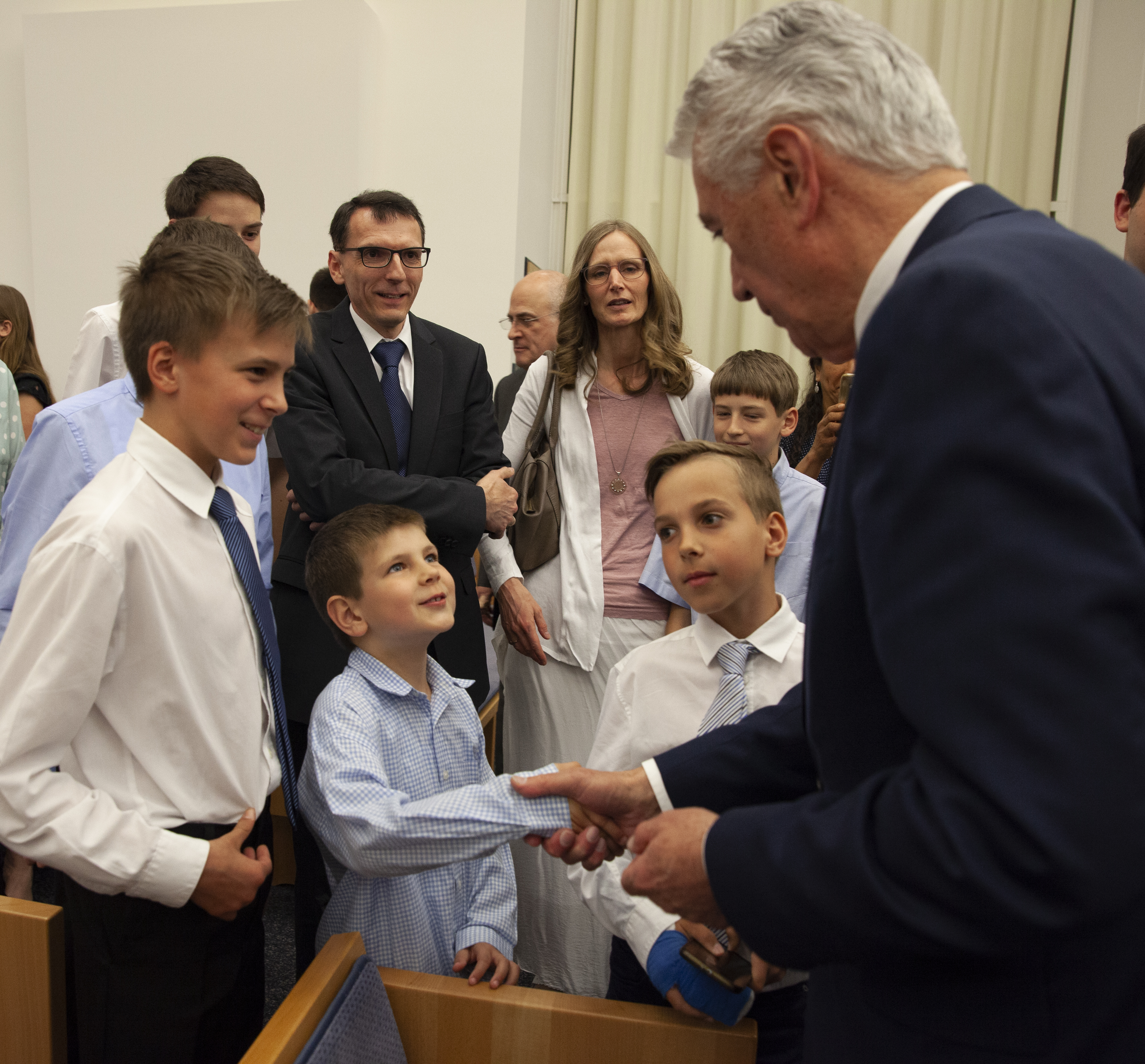 Elder Dieter F. Uchtdorf greets members following a regional Face to Face broadcast to German-speaking Latter-day Saints in Europe on April 20, 2019. The broadcast originated in Frankfurt, Germany.