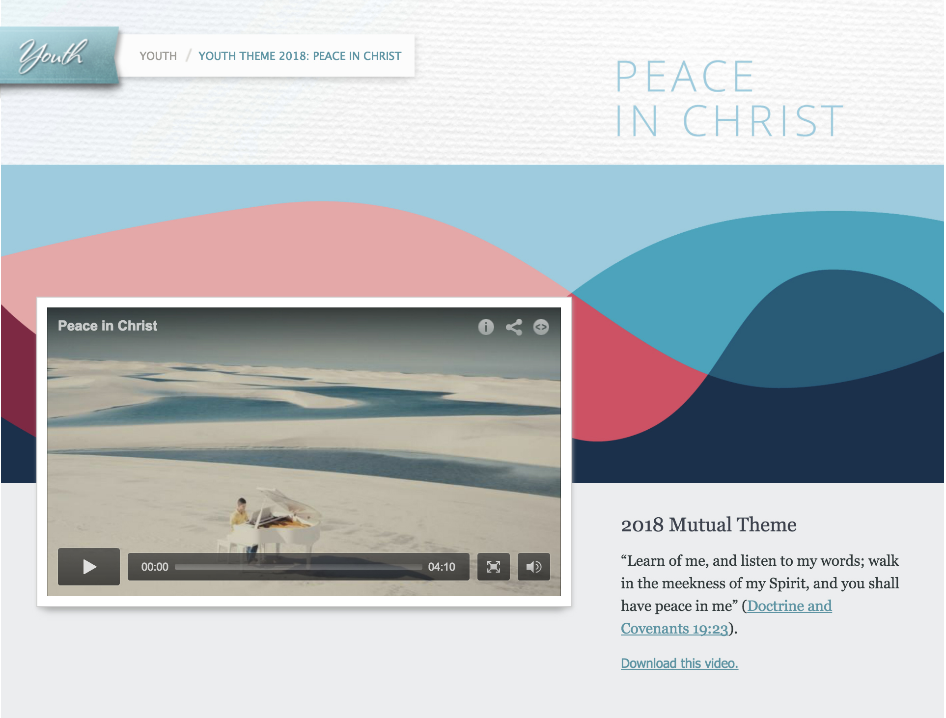 Peace in Christ': LDS youth leaders discuss 2018 theme