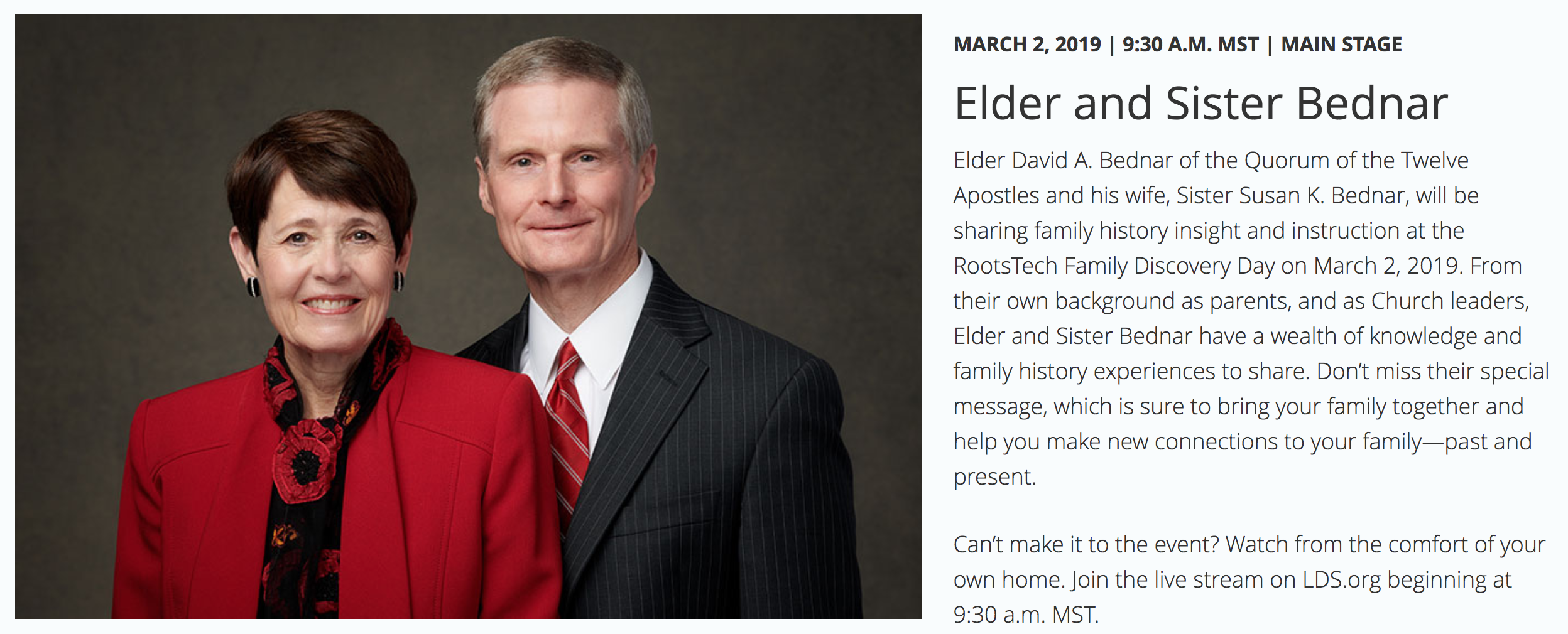 Screen shot of the RootsTech announcement for the upcoming Family Discovery Day speakers, Elder and Sister Bednar.