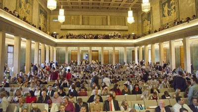 The visitors attending the meeting with President Thomas S. Monson in Munich, take their seats.
