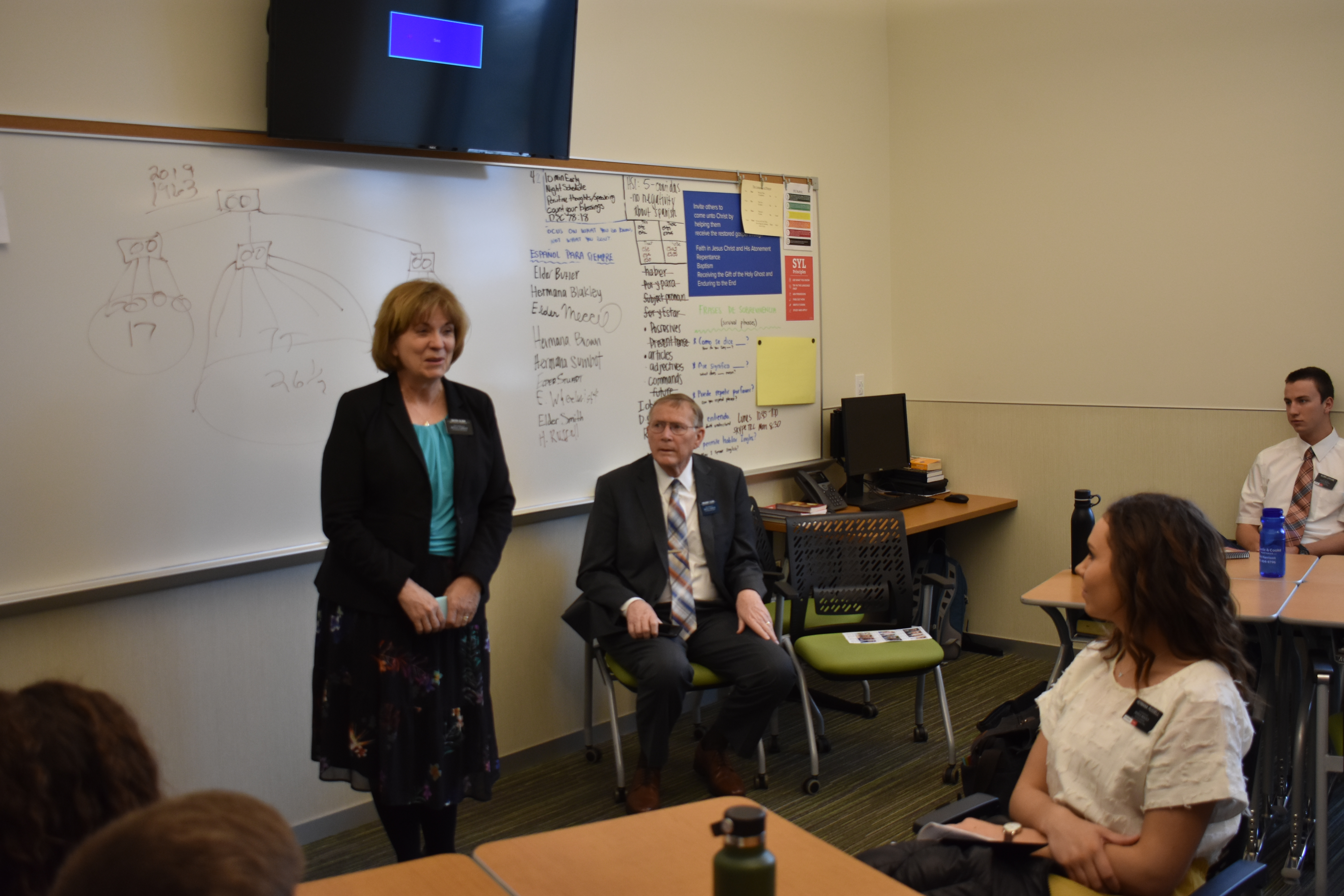 Sister Rose Ann Olson, standing, and President Timothy M. Olson of the Mexico Missionary Training Center meet with a classroom of missionaries at the Provo MTC on Wednesday, Jan. 16, 2019. The Olsons were participating in the 2019 MTC Leadership Seminar, conducted Jan. 14-17 in Provo and Salt Lake City, Utah.