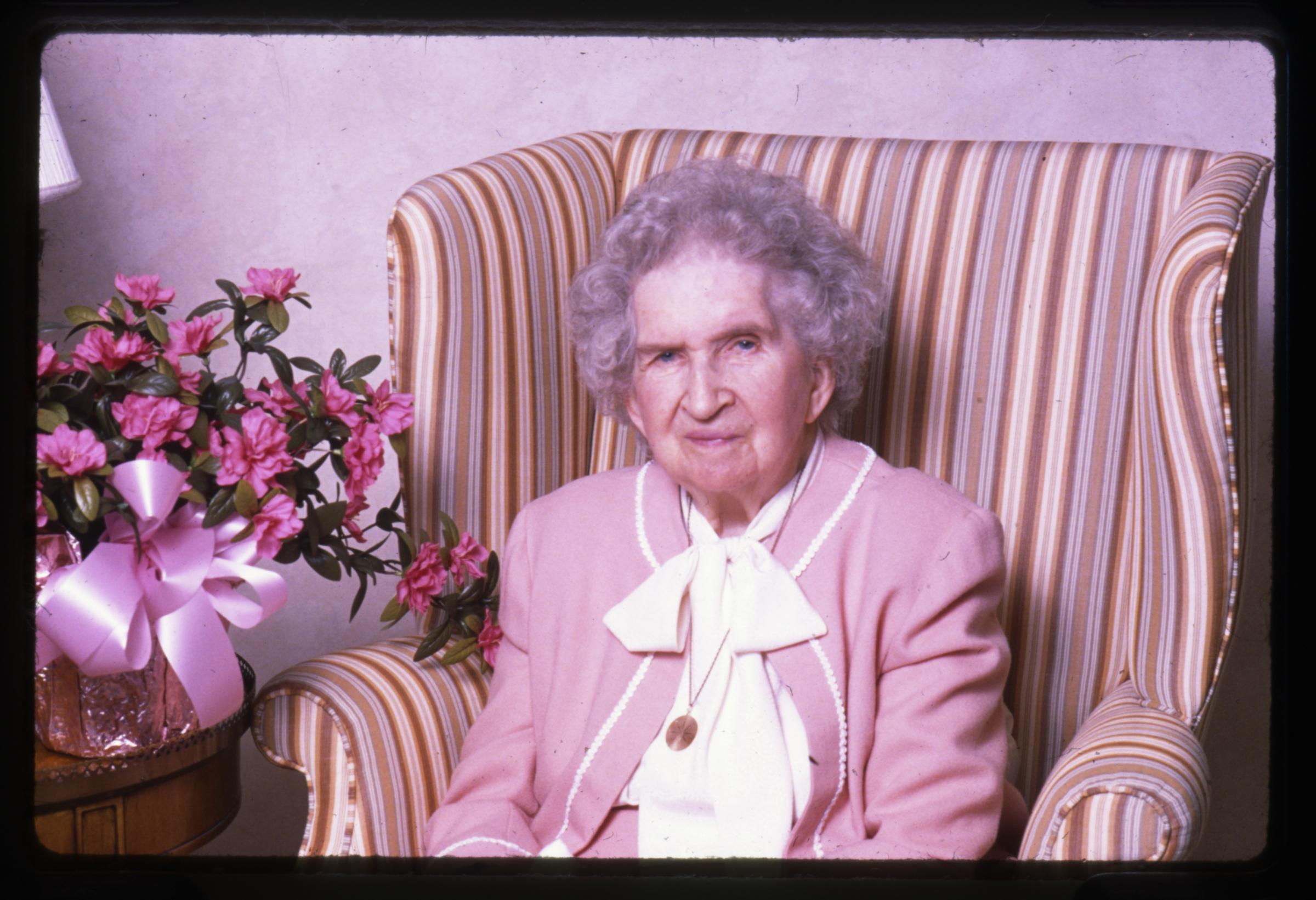 Sister Flora Smith Amussen Benson, wife of President Ezra Taft Benson, posed for a photo on her 88th birthday in 1989.