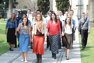 Missionaries training at the recently opened Mexico City MTC walk in a group to the MTC's Feb. 9 dedication ceremony.
