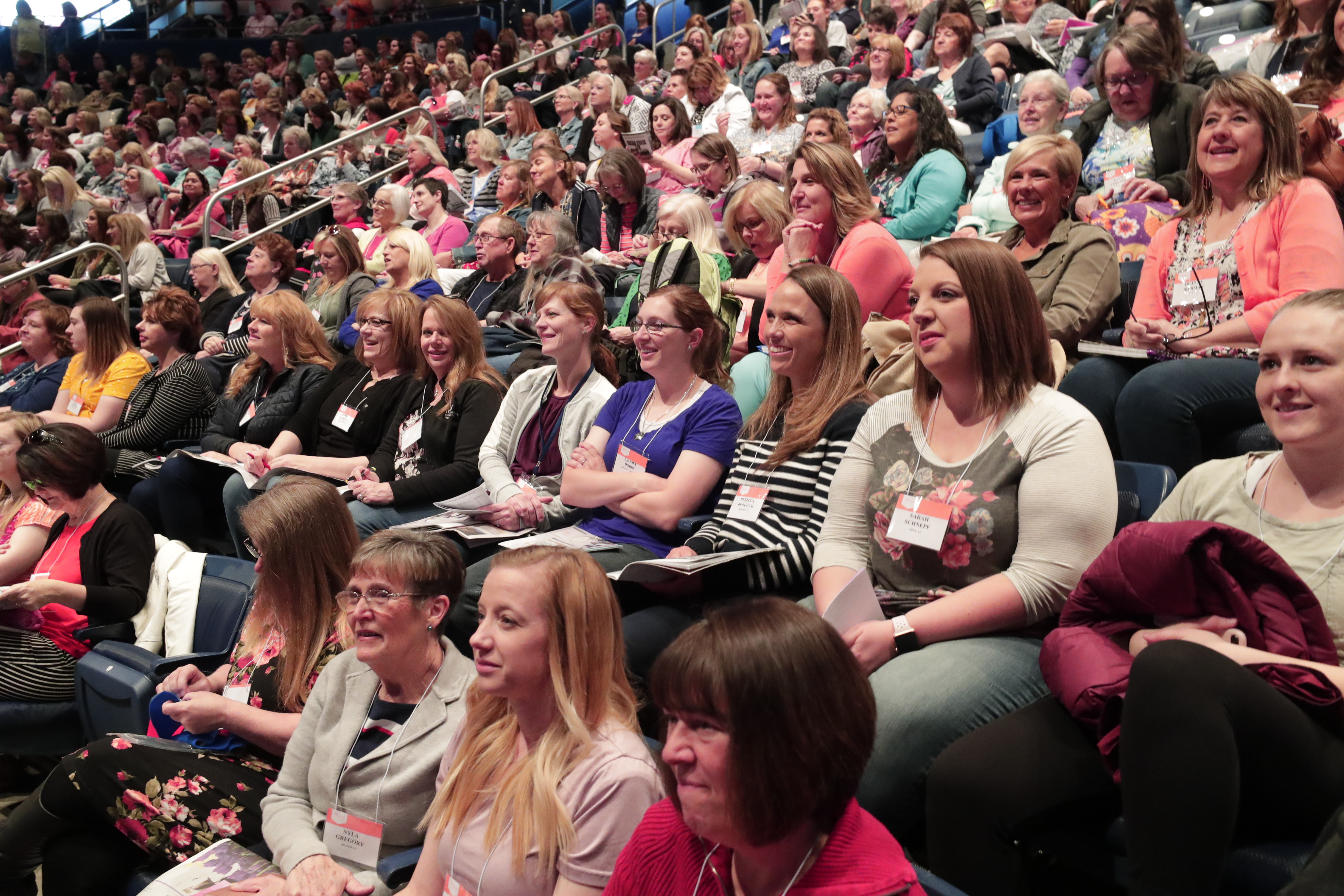 Women gather in the Marriott Center on the BYU campus in Provo, Utah, for the annual BYU Women's Conference, on May 2, 2019.