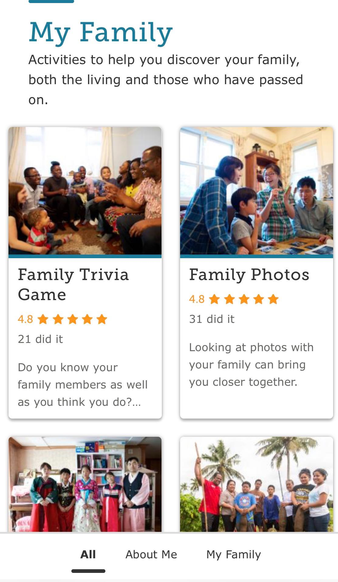 "A screenshot of the mobile-app landing page for ""My Family"" options of in-home family history activities."