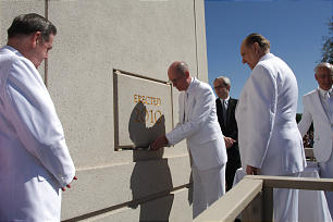 President Thomas S. Monson oversees the cornerstone ceremony of The Gila Valley temple, the first temple he announced and dedicated.