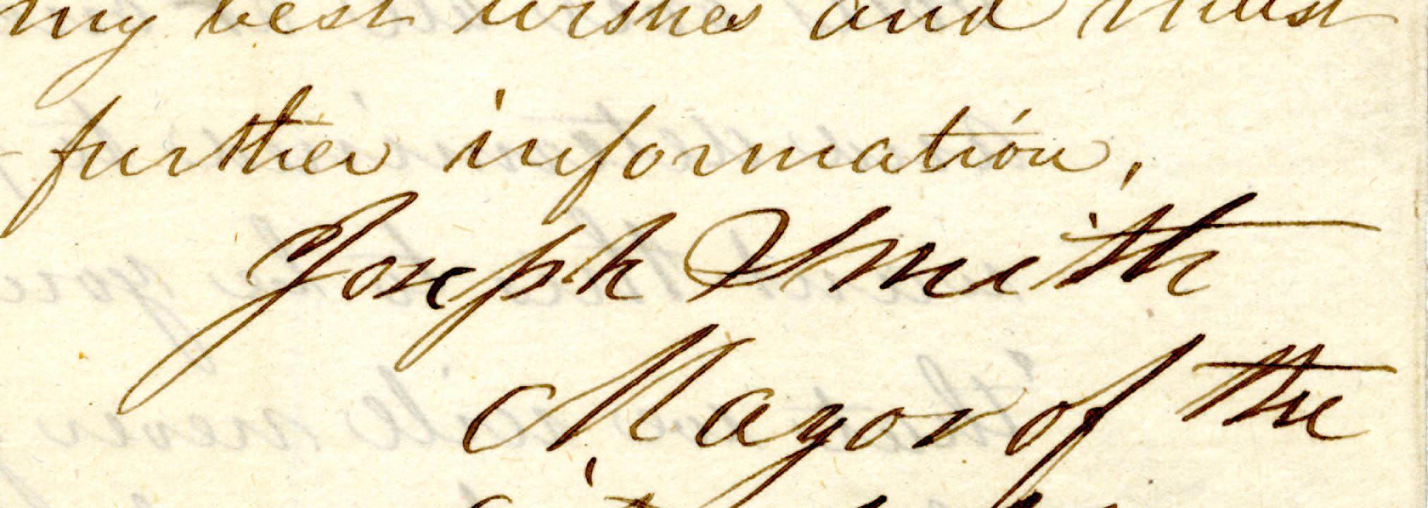 The signature of Joseph Smith.