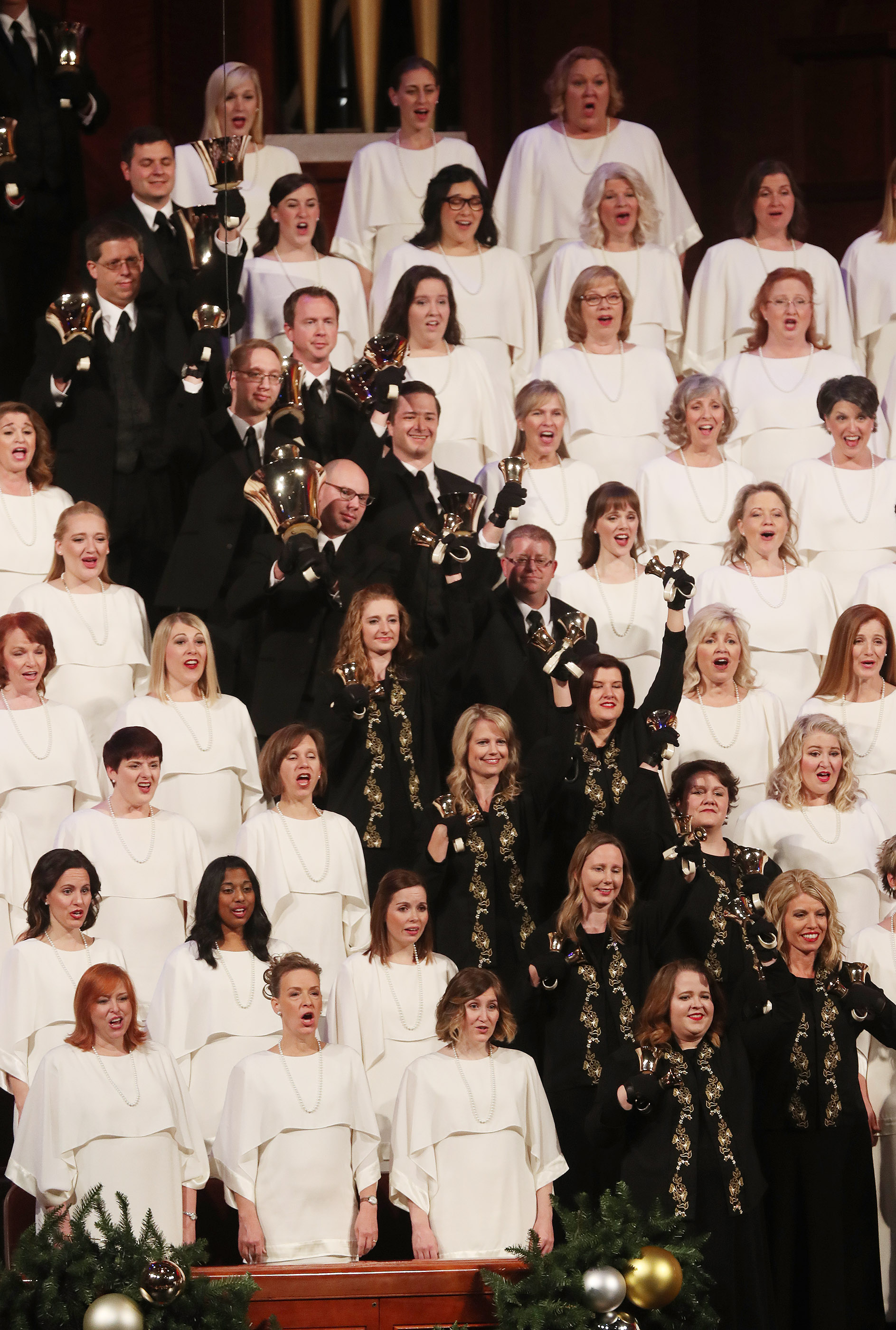 The Tabernacle Choir at Temple Square sing during their opening Christmas concert at the Conference Center in Salt Lake City on Thursday, Dec. 13, 2018.