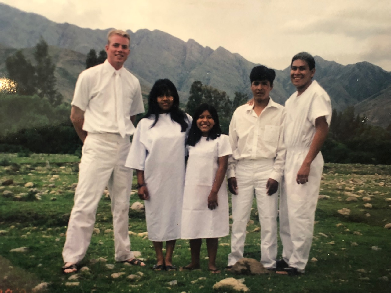 Davis Smith and his companion Elder Dustin Harris at a baptism for some relatives of Naval Sanchez, who joined the Church shortly before Smith was transferred to his area 20 years ago. Many of Naval Sanchez's family members followed his example and joined the Church.