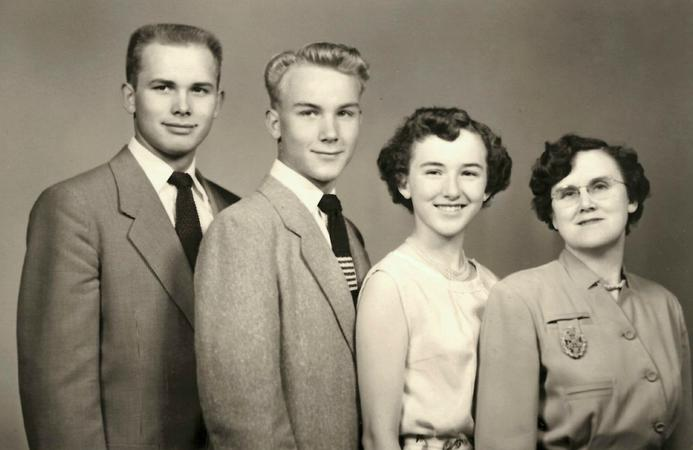 Elder Dallin H. Oaks with his mother, Stella, brother Merrill and sister Evelyn. Elder Oaks' father died when he was 8 years old, and his mother raised three children on her own.