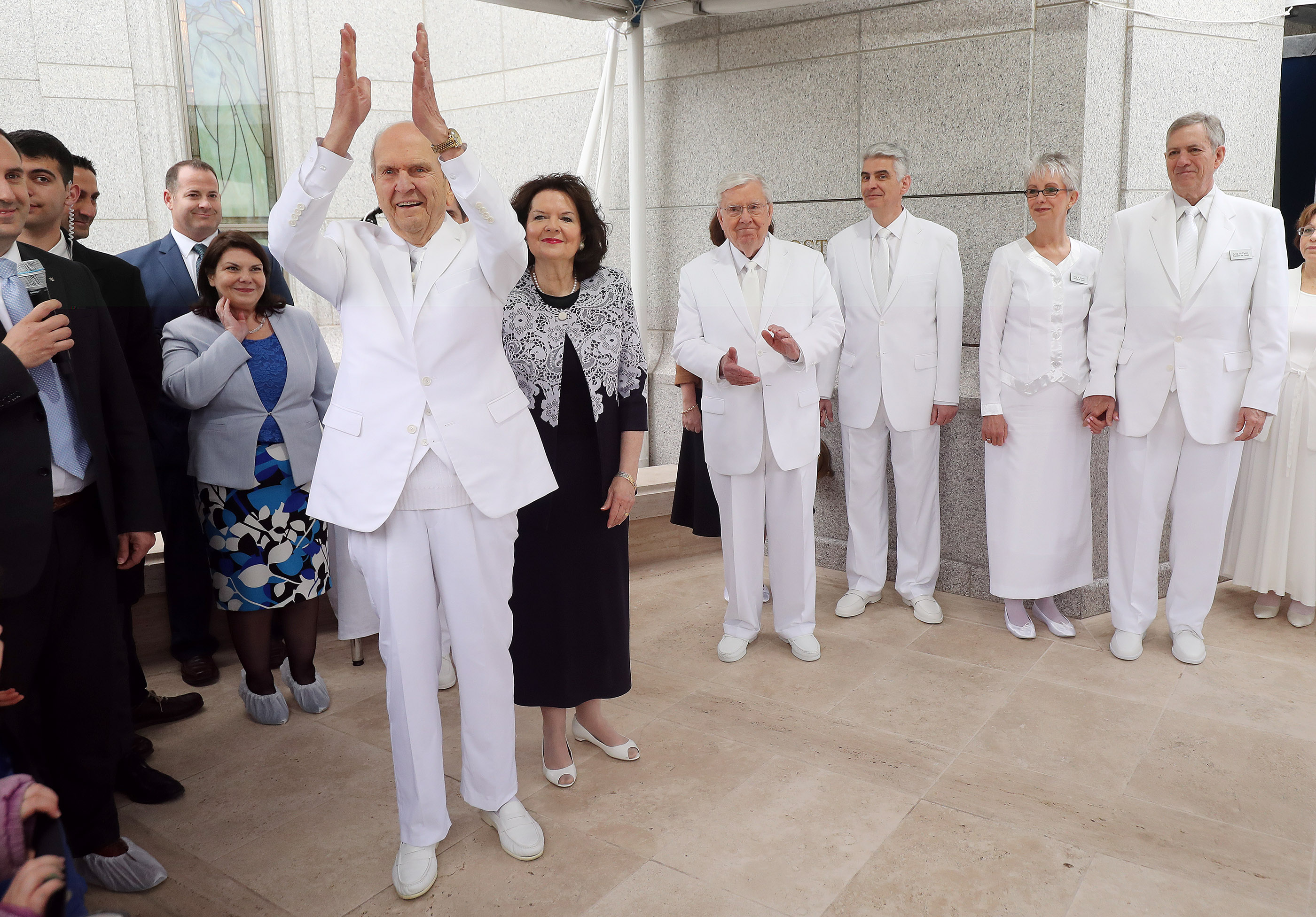 President Russell M. Nelson of The Church of Jesus Christ of Latter-day Saints claps during the cornerstone ceremony for the dedication of the Rome Italy Temple of The Church of Jesus Christ of Latter-day Saints in Rome, Italy, on Sunday, March 10, 2019.