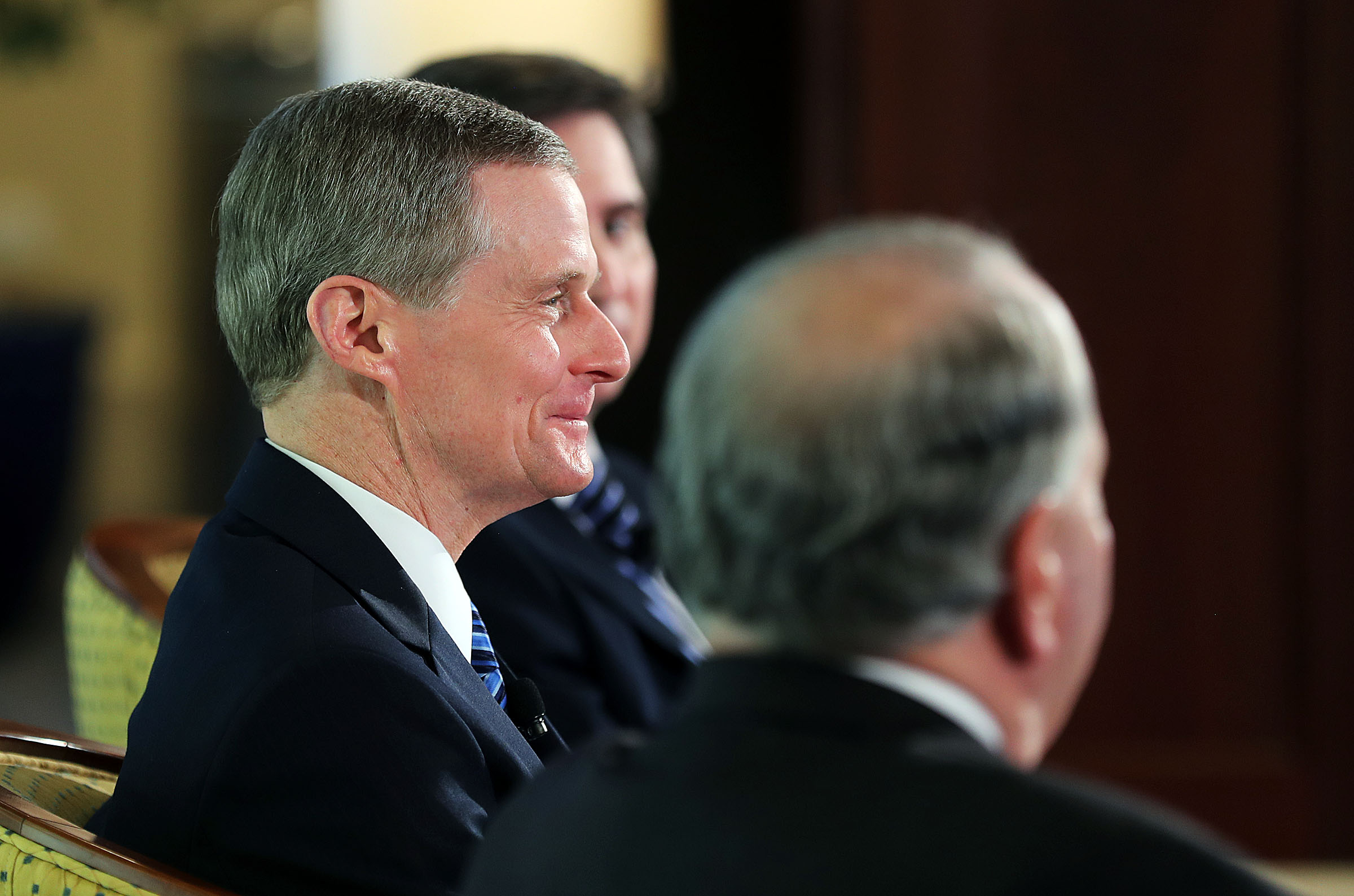 Elder David A. Bednar of the Quorum of the Twelve Apostles smiles during a press conference in the Rome Temple Visitors' Center of The Church of Jesus Christ of Latter-day Saints on Monday, Jan. 14, 2019.