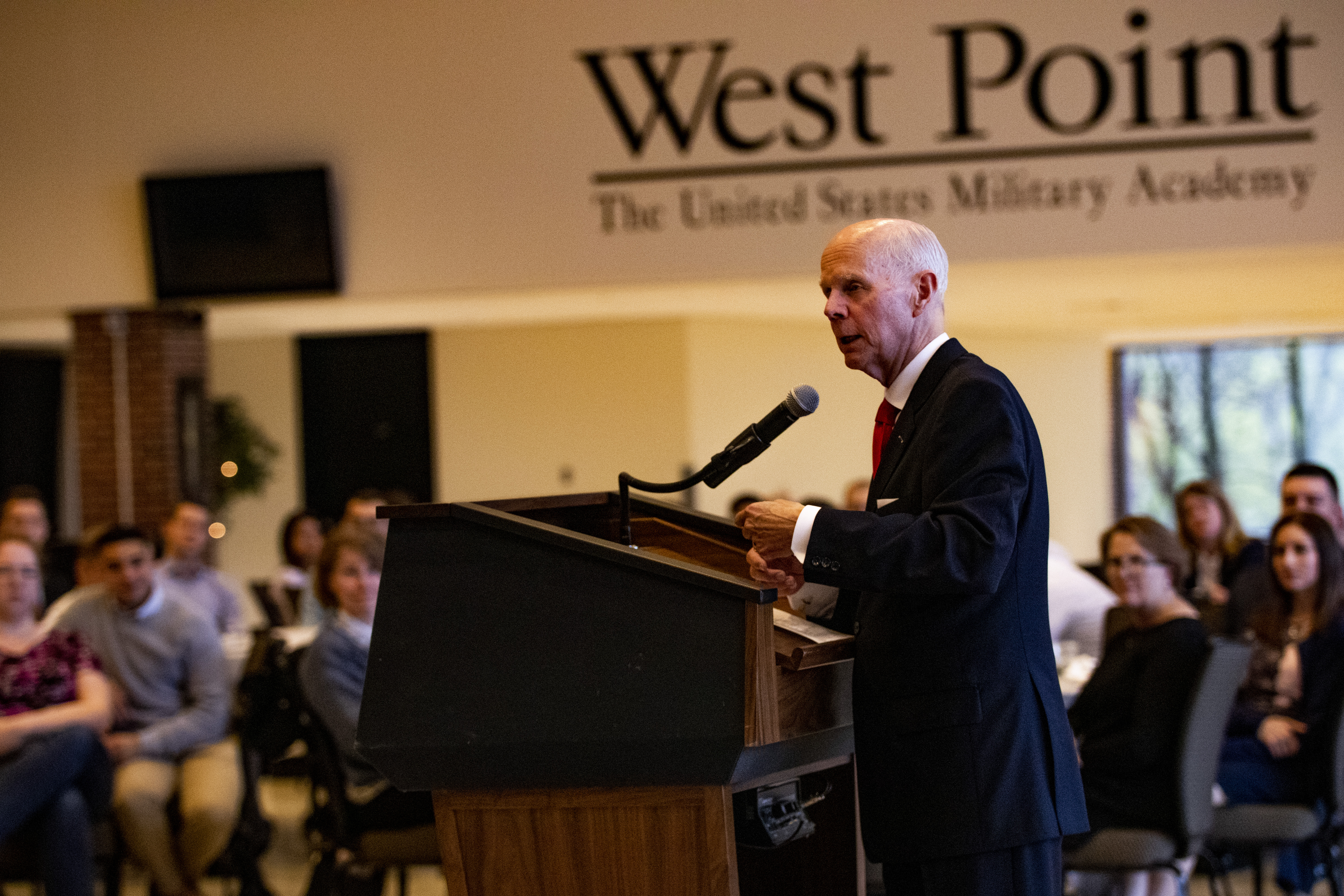 Elder Lance B. Wickman speaks to Young Single Adults during May 4, 2019, gathering at the United States Military Academy in West Point, New York.