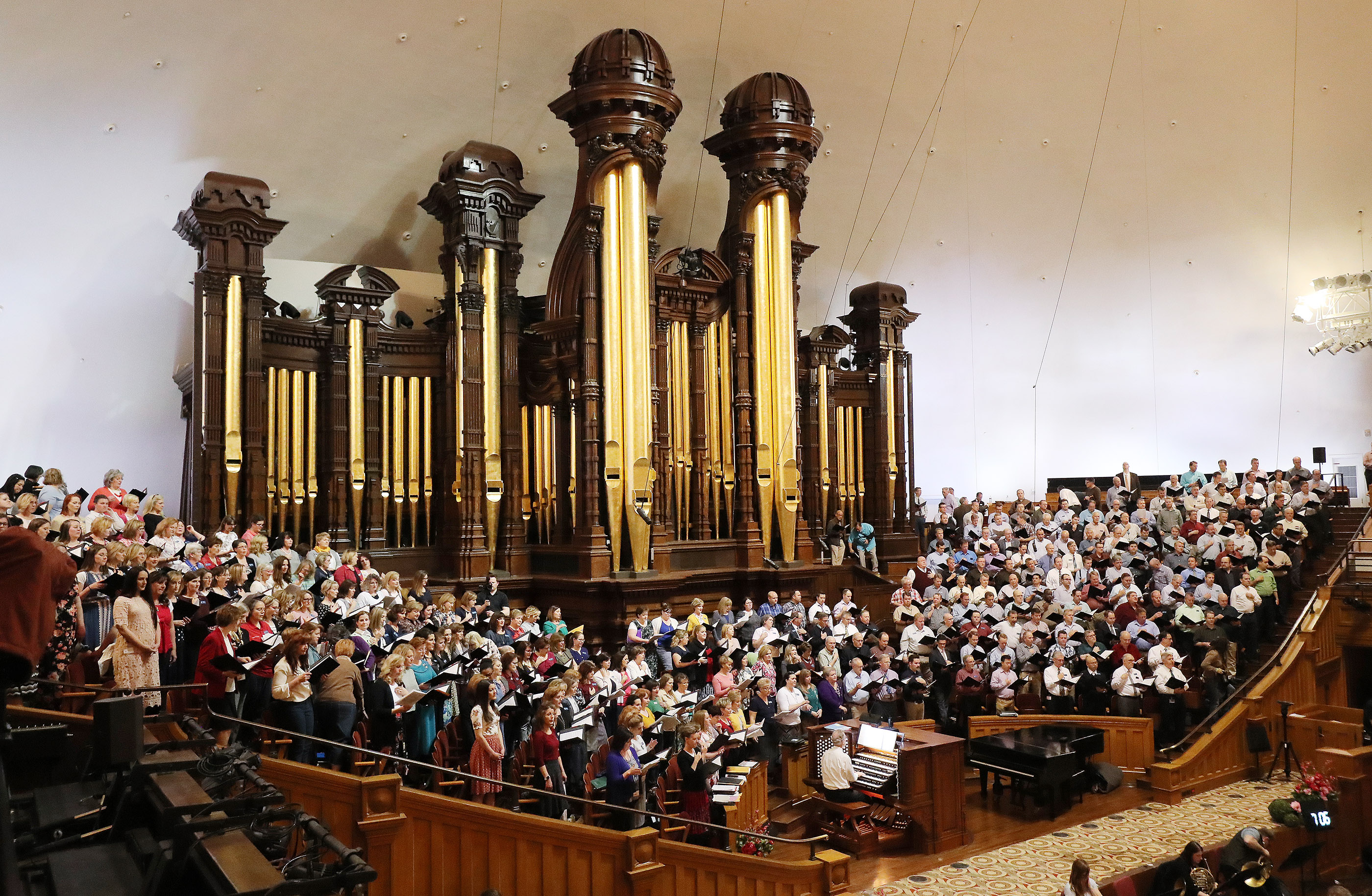 The Tabernacle Choir at Temple Square rehearse in Salt Lake City on Thursday, April 11, 2019. Four people were selected through social media to sing with the choir.