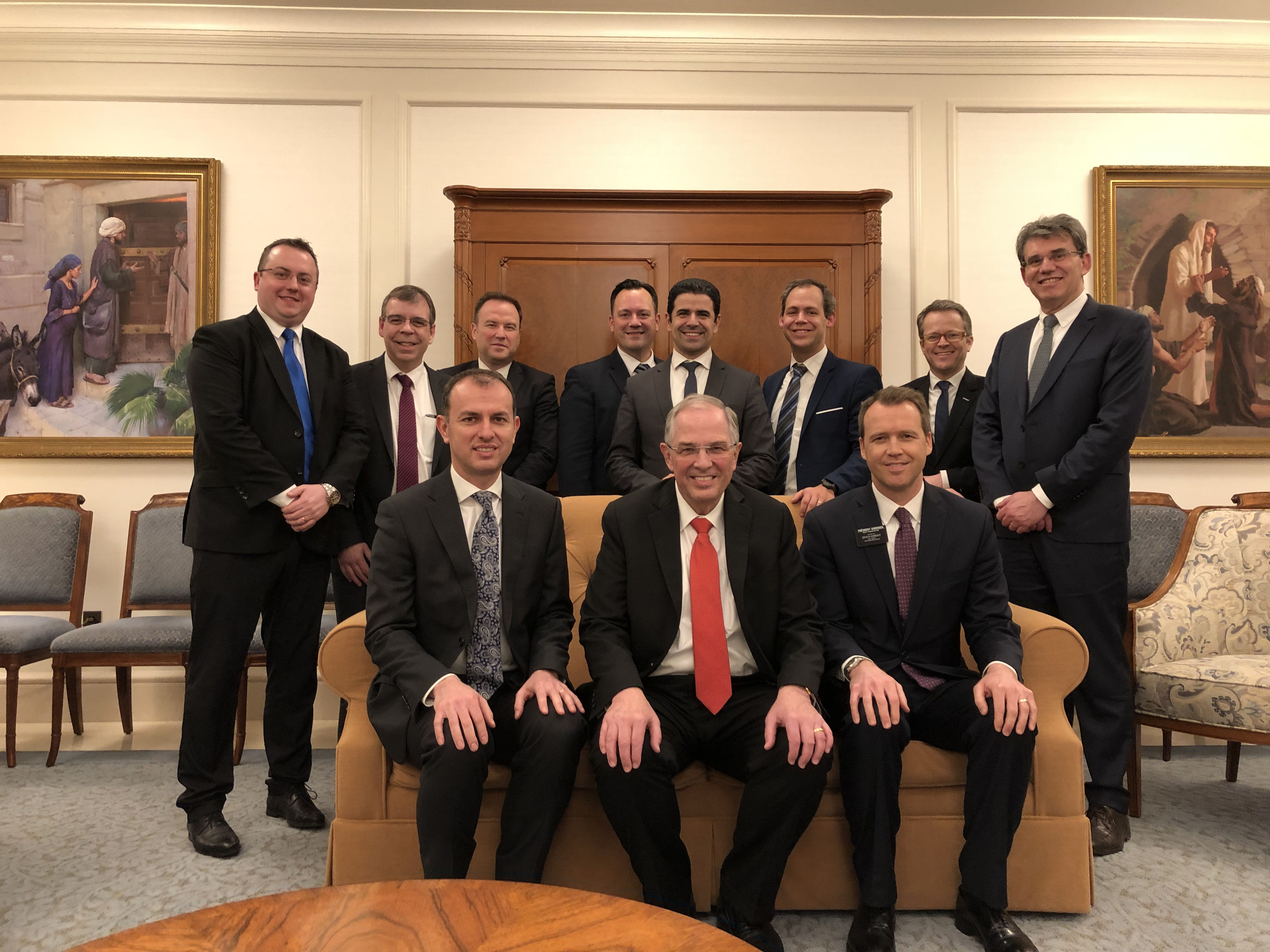 Elder Neil L. Andersen met with Elder Matthieu Bennasar (front row, left) and President Paul J. Sorensen (front row, right), president of the France Paris Mission, along with the stake presidencies of the three stakes in Paris.