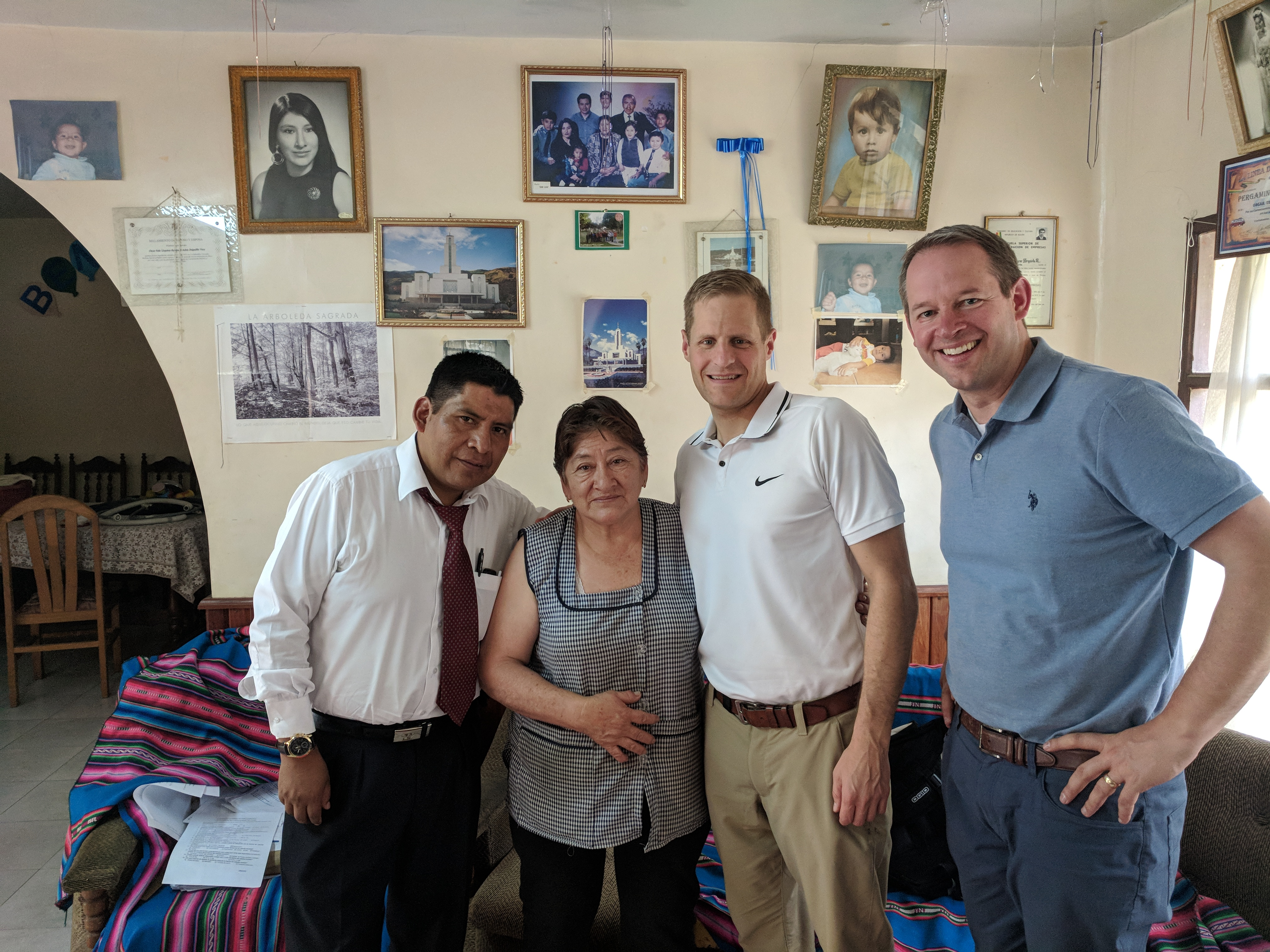 From left to right: Johnny Choque, Adela Urquieta, David McConkie, and Kevin Burke. McConkie and Burke taught Sister Urquieta 20 years ago and reunited with her when they returned to visit in October.