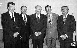 Elder Douglas L. Callister, center, joins newly organized Almaty Branch presidency including: Averroes Utamagambetov, left, first counselor; Paul B. Pieper, president; Nurlan Kadyrbekov, second counselor; and Mikhail Cherdantsov, executive secretary.