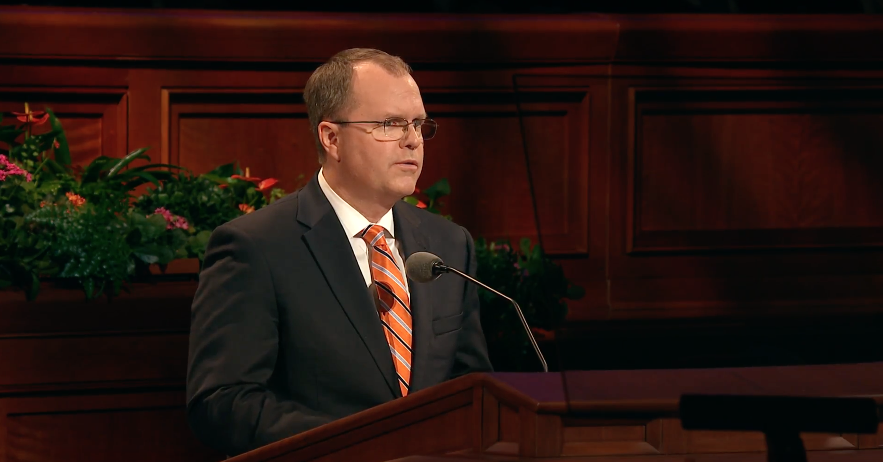 Brother Brian K. Ashton speaks during the Sunday afternoon session of October 2018 general conference.
