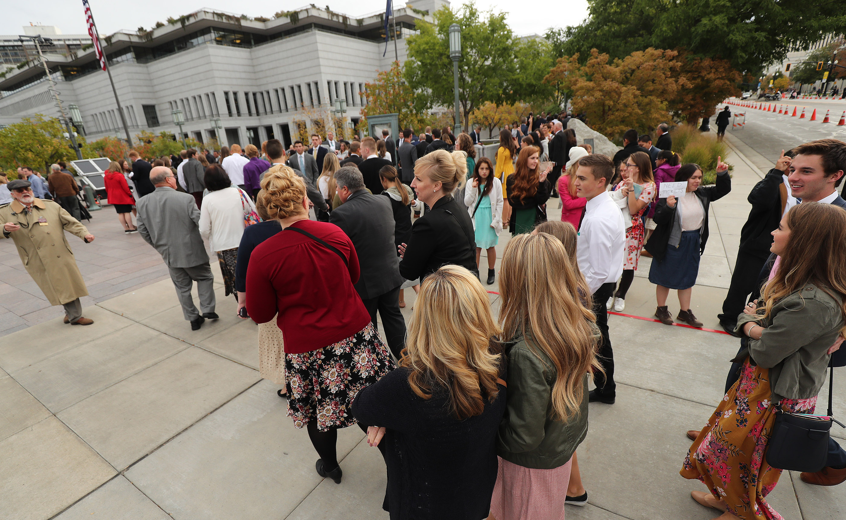 Attendees walk to the Conference Center for the Saturday morning session of the 188th Semiannual General Conference of The Church of Jesus Christ of Latter-day Saints in Salt Lake City on Saturday, Oct. 6, 2018.