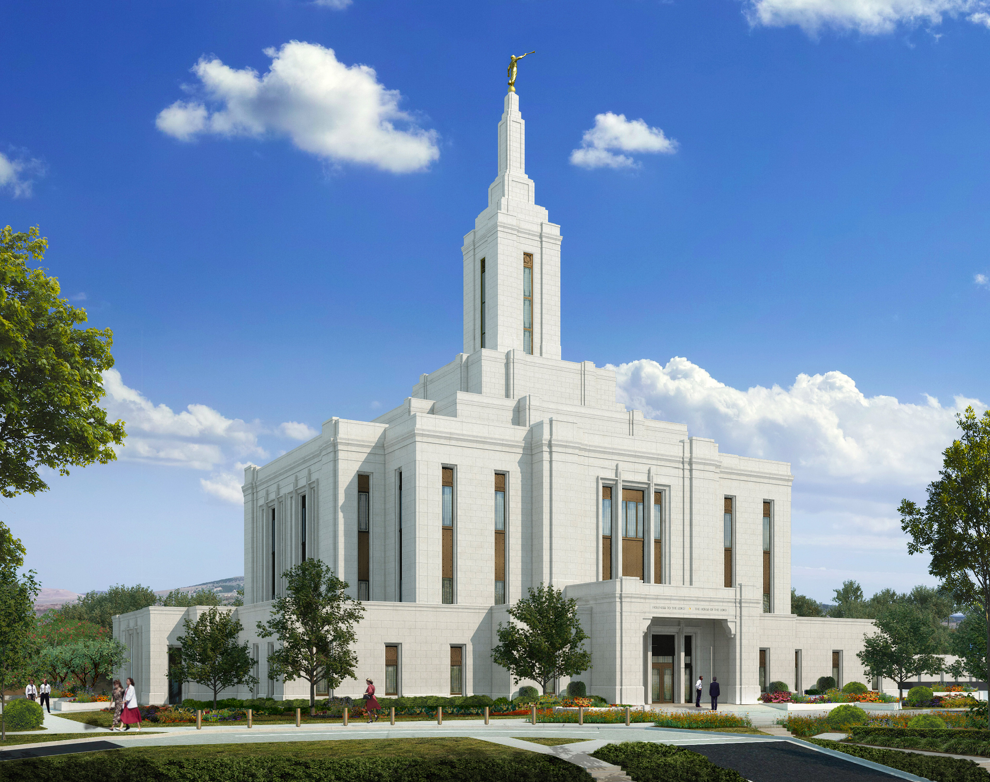 Artist's rendering of the future Pocatello Idaho Temple. It will be the state's sixth temple.