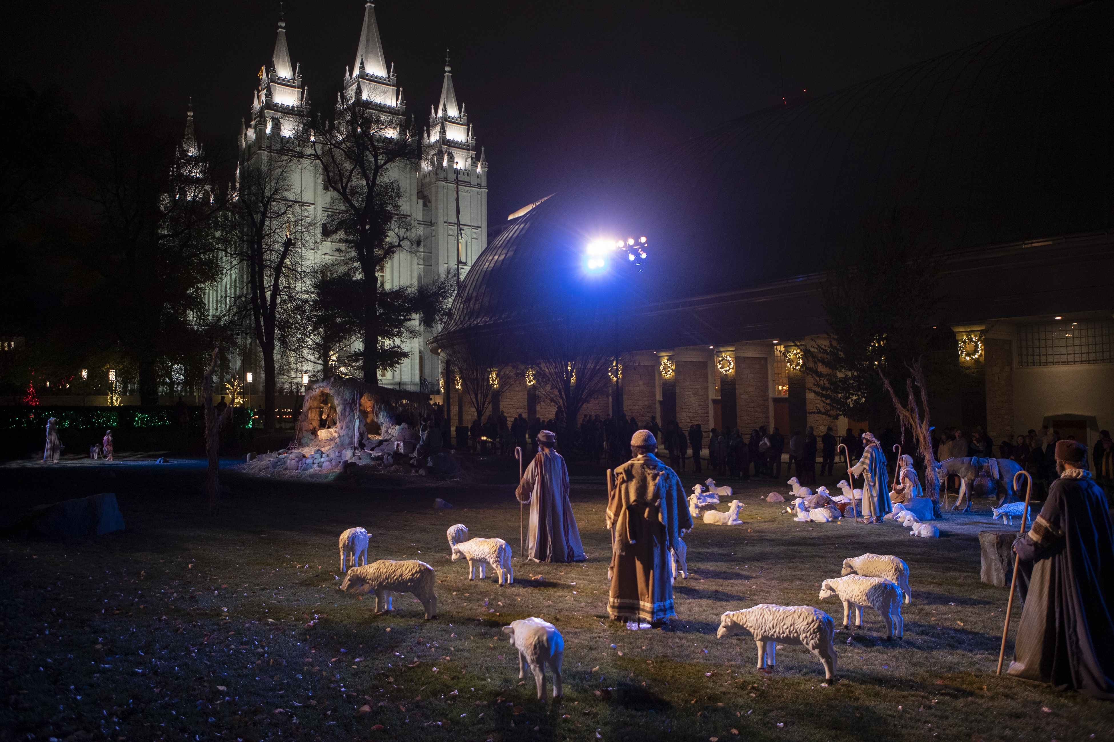 The Nativity story is told on the grass as thousands take in the colors as the lights are turned on at Temple Square in Salt Lake City on Friday, Nov. 23, 2018.
