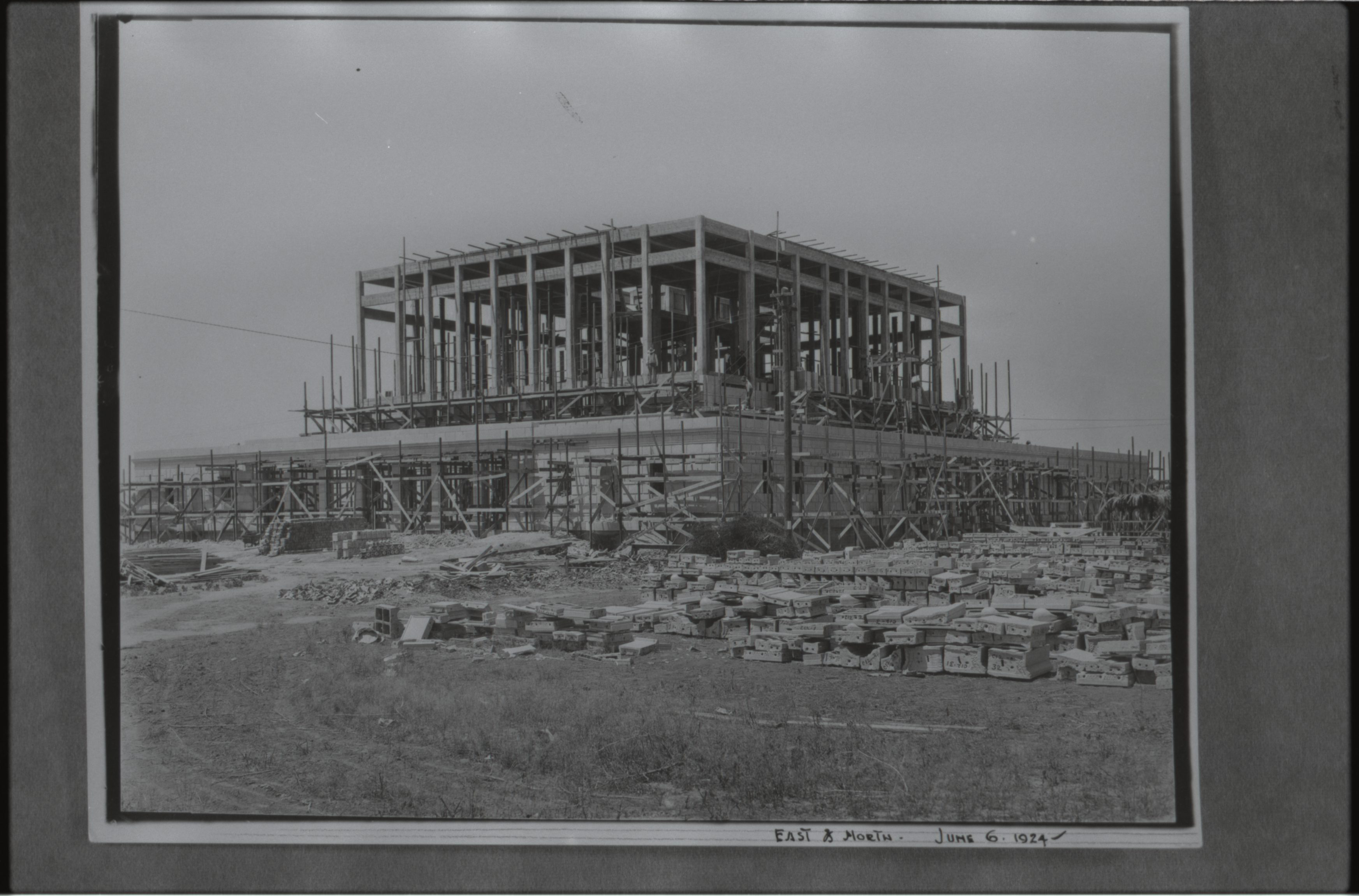 The Mesa Arizona Temple as it looked under construction in 1924.