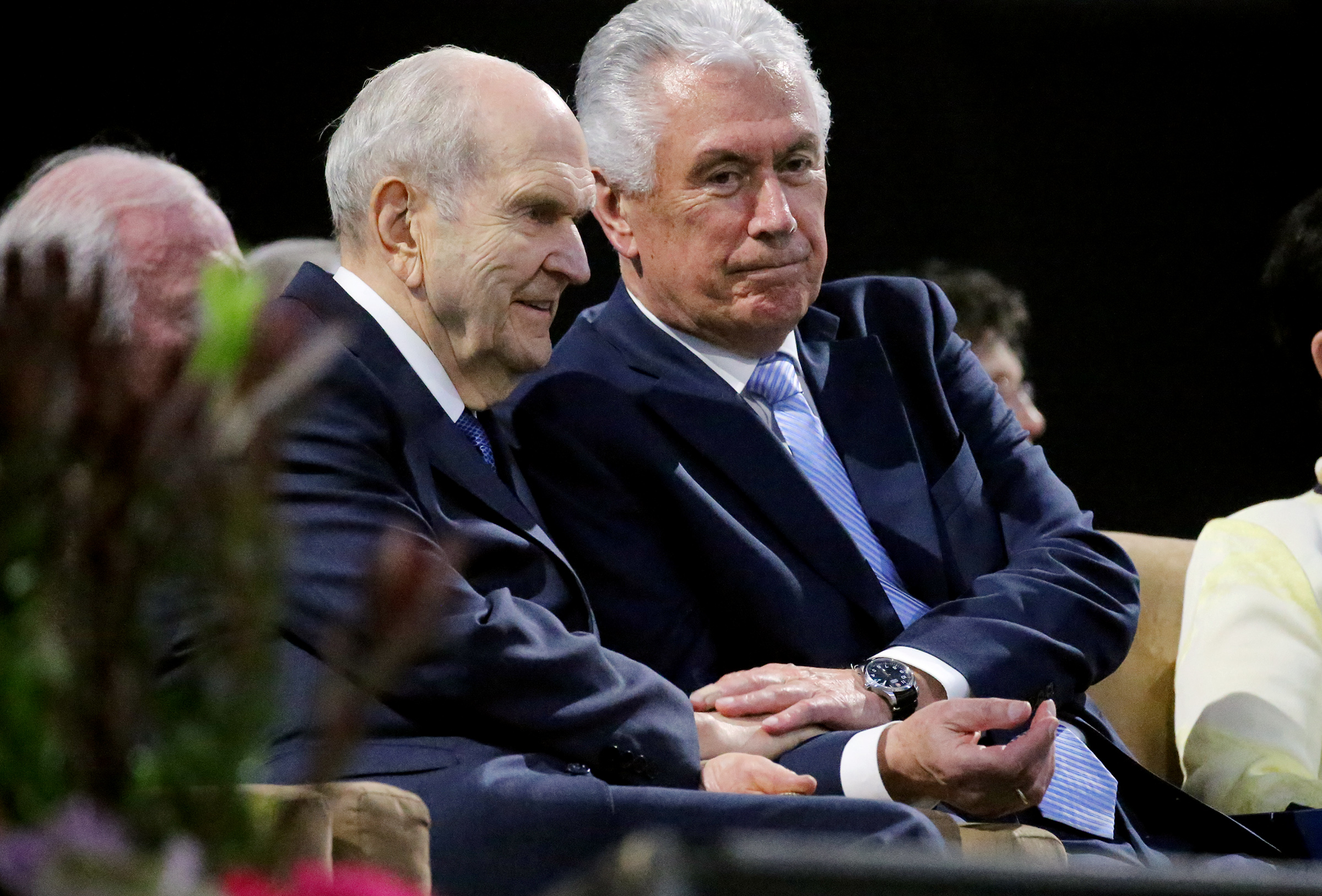 President Russell M. Nelson and Elder Dieter F. Uchtdorf of the Quorum of the Twelve Apostles site side by side at the devotional in the Amway Center in Orlando, Florida, on Sunday, June 9, 2019.