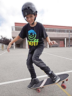 Chase Hales, now a healthy 11-years-old, shows off his skateboarding skills. The Hales Family created a day of service to express gratitude for the life of their son, a tumor survivor, and help others celebrate the gift of life.