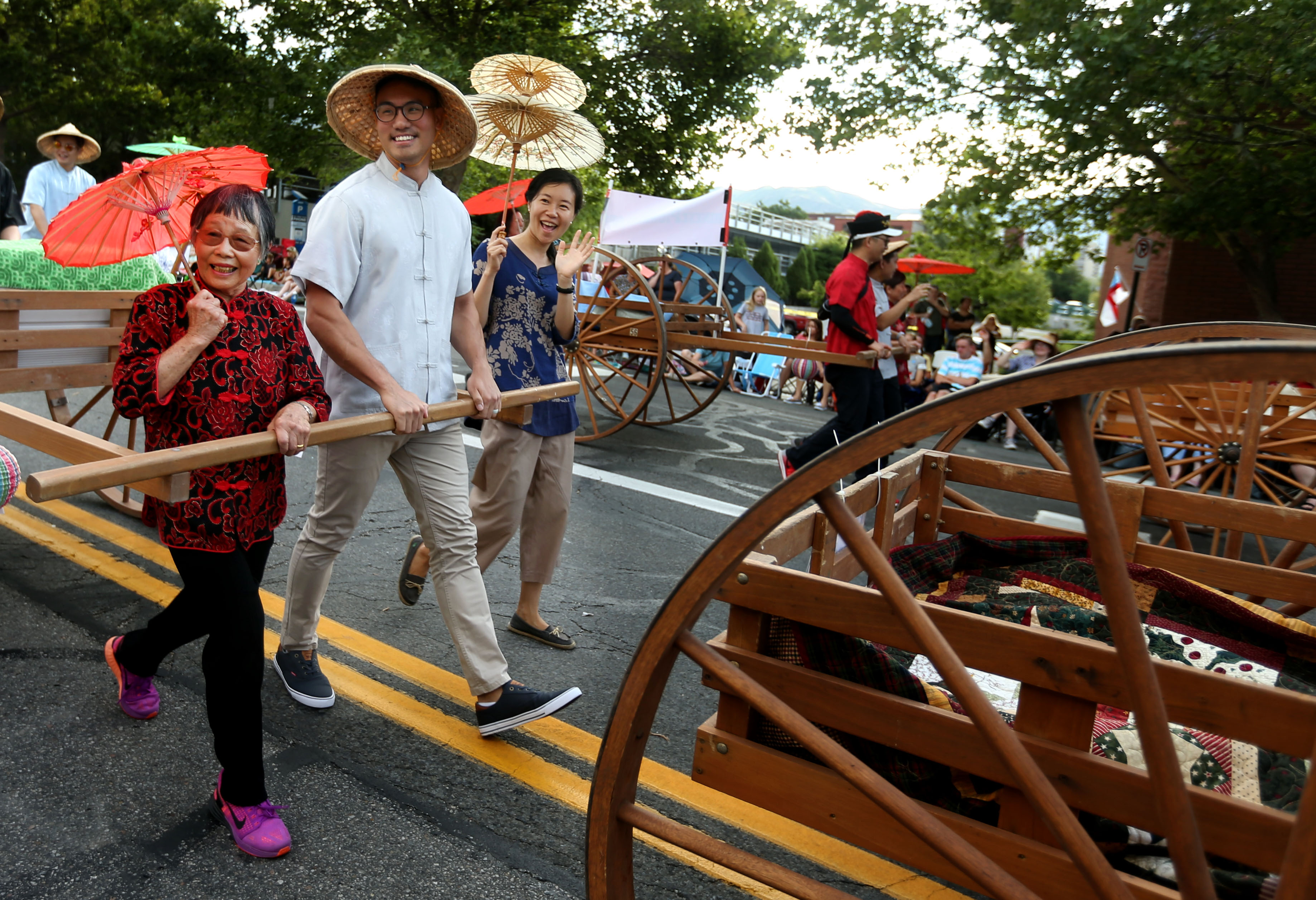 Overseas Chinese LDS Pioneers Association march in the Days of '47 Parade in Salt Lake City on Wednesday, July 24, 2019.