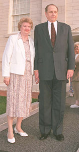 President Thomas S. Monson with wife, Frances, at Nauvoo Illinois Temple.
