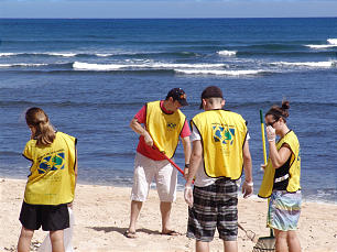 Members of Mililani Oahu Stake clean Kaiaka Beach State Park in Hawaii as part of Mormon Helping Hands 2012 on April 28.