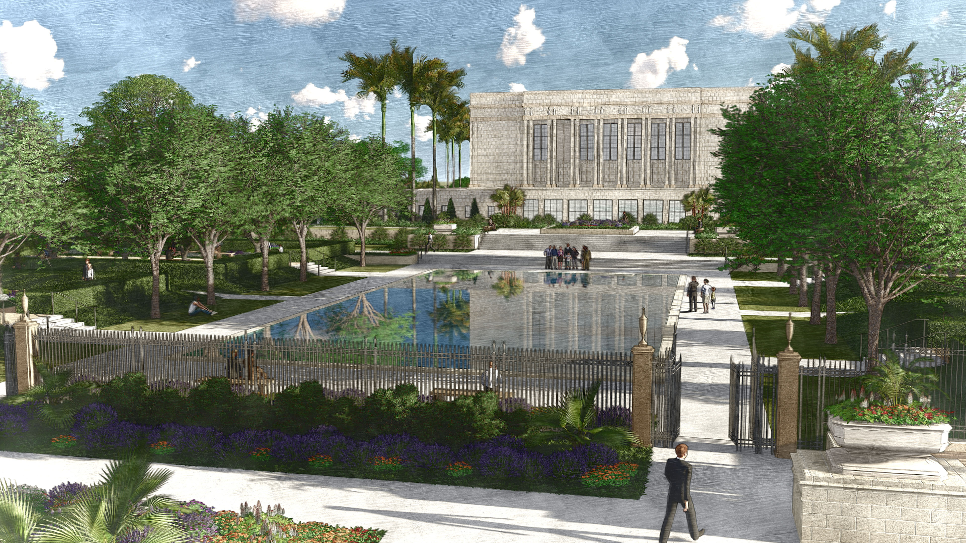Rendering of the Mesa Arizona Temple from the north side.