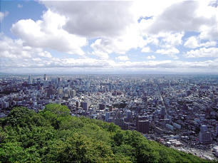 Overlooking Sapporo, Japan, on the northern island of Hokkaido.