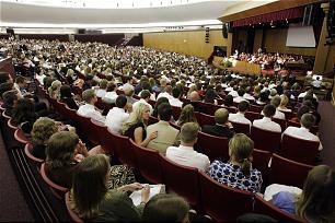 Davis County Young Single Adults listen to Elder M. Russell Ballard speak in North Salt Lake on Aug. 21.