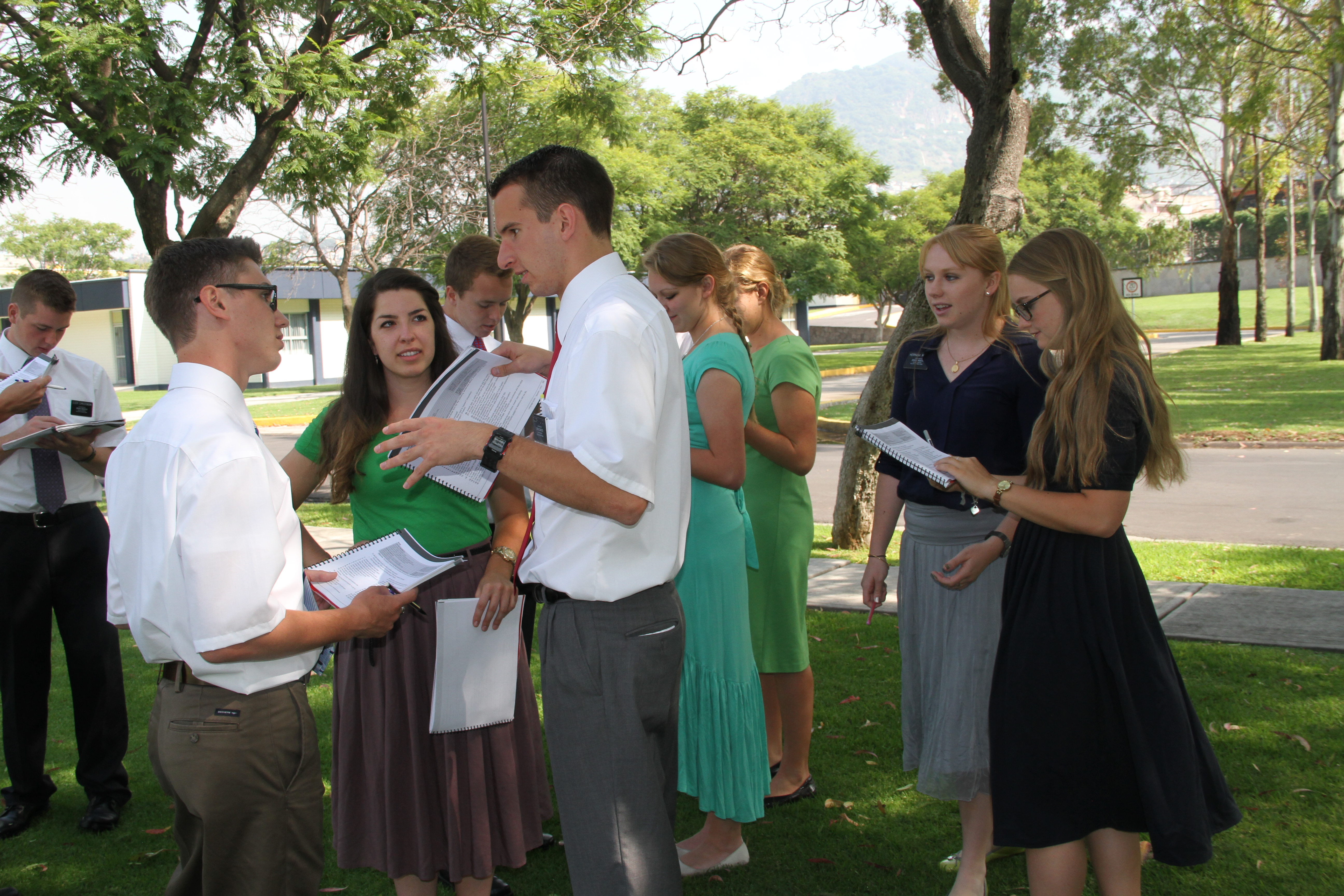 Missionaries enjoy the temperate weather at the Mexico Missionary Training Center to practice their Spanish and practice training techniques in August 2013.