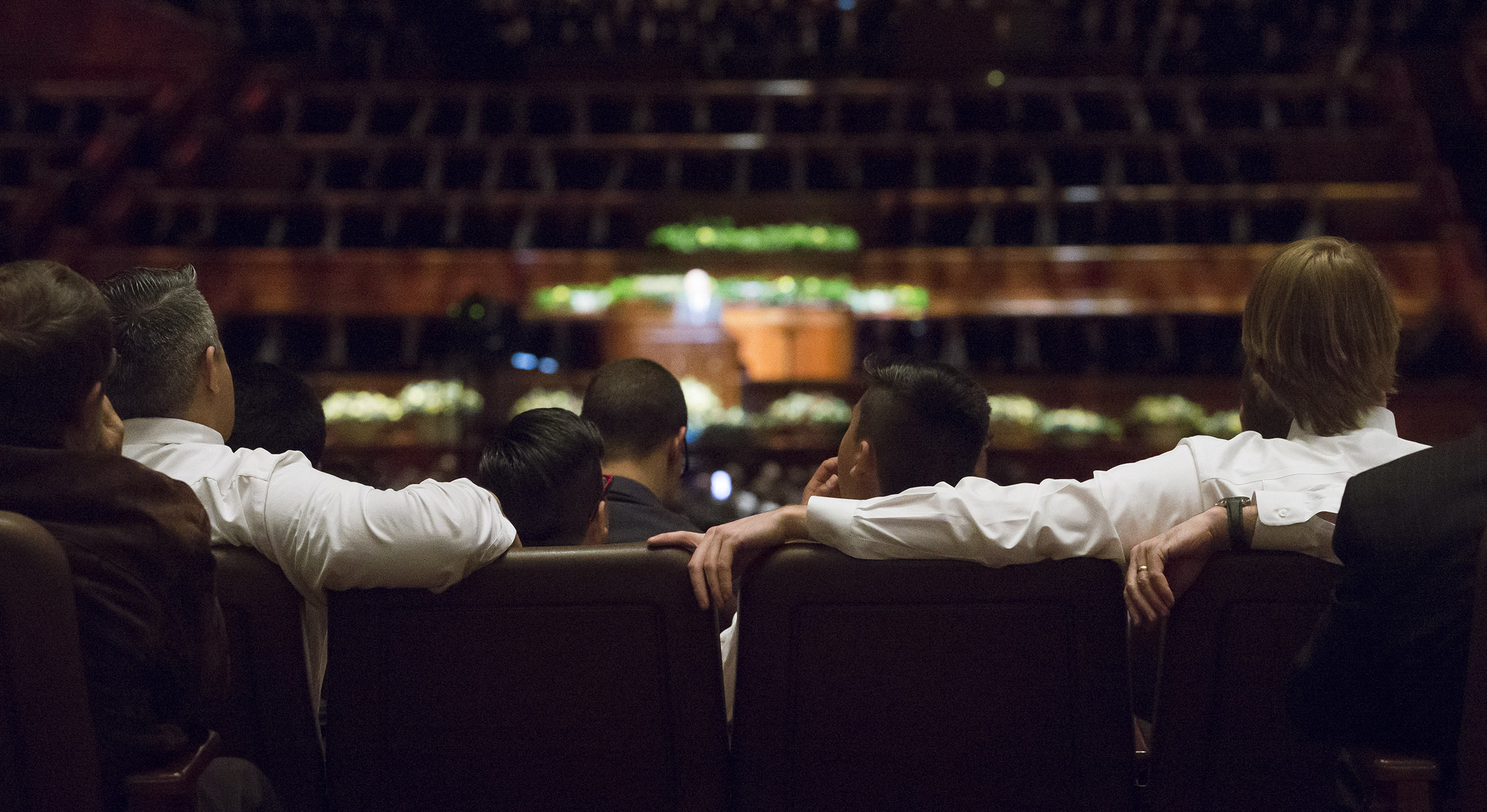 Audience members listen during the general priesthood session of the 188th Annual General Conference of The Church of Jesus Christ of Latter-day Saints in the Conference Center in Salt Lake City on Saturday, March 31, 2018.