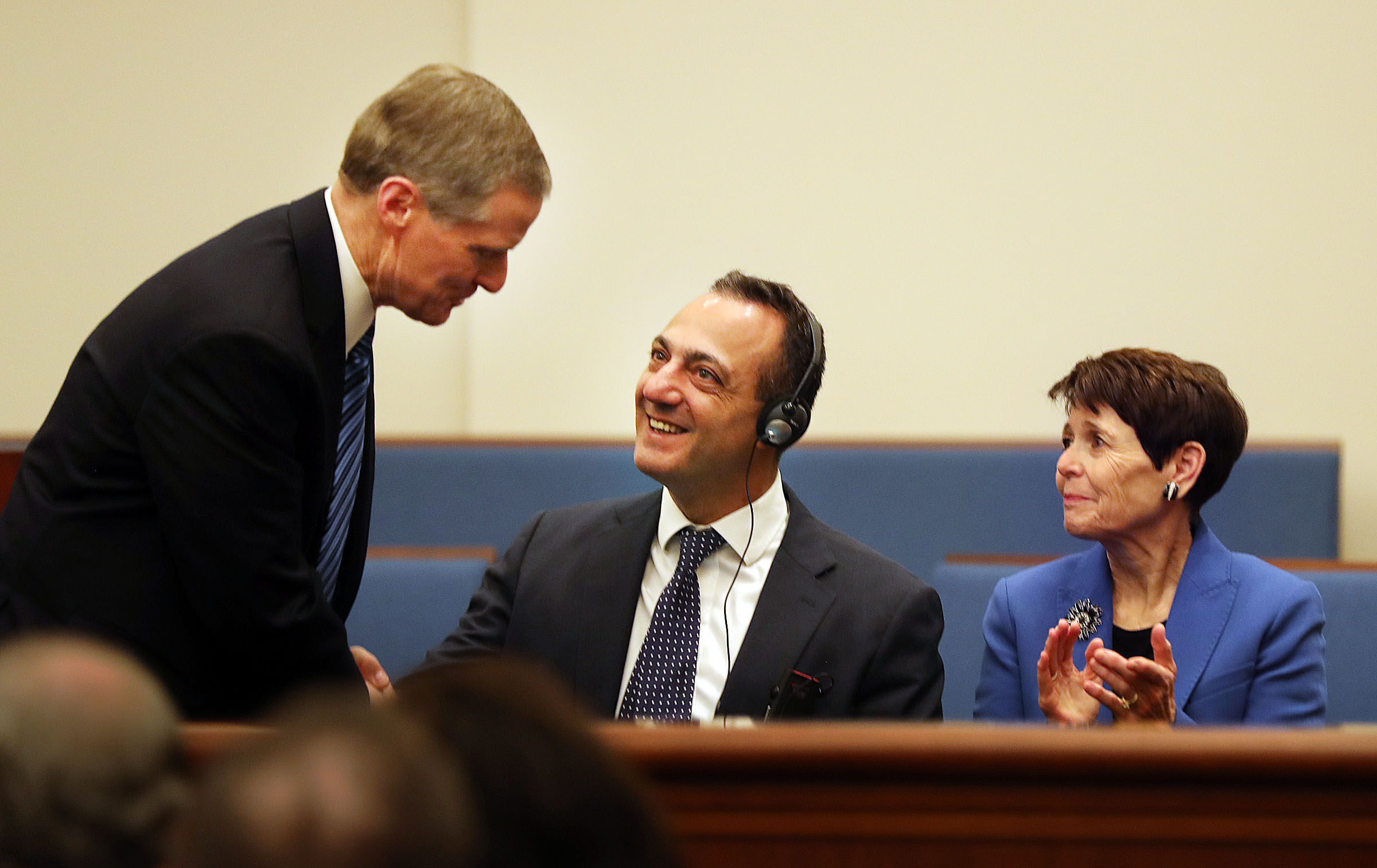 Elder David A. Bednar, left, of the Quorum of the Twelve Apostles greets President Marcello De Vito, president of the Rome City Council, during a press briefing at a meetinghouse on the Rome Italy Temple grounds on Monday, Jan. 14, 2019. At right is Elder Bednar's wife, Sister Susan Bednar.