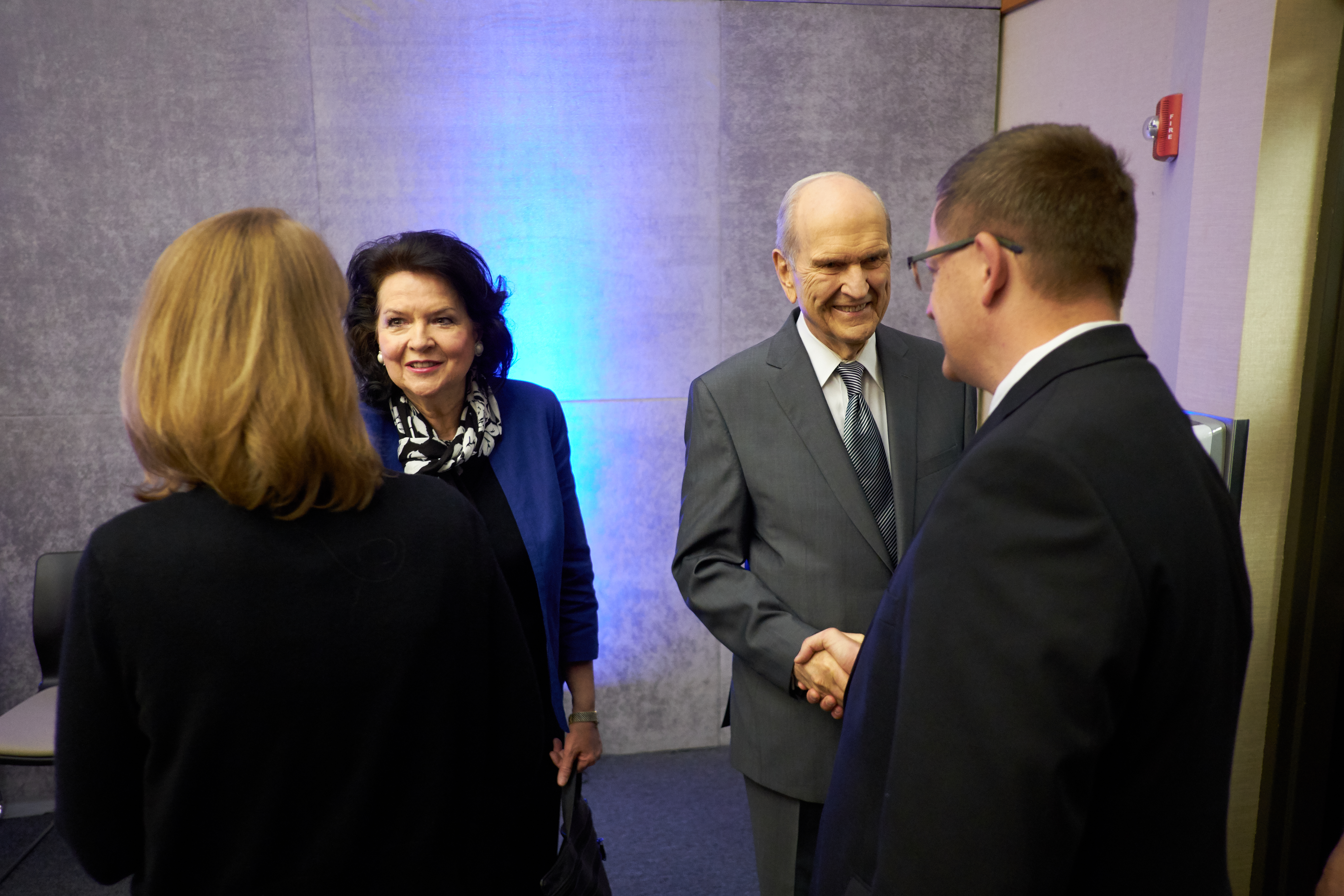 President Russell M. Nelson and his wife, Sister Wendy Nelson, greet new mission presidents and their wives during the 2017 New Mission Presidents Seminar on June 28 in the Provo Missionary Training Center.