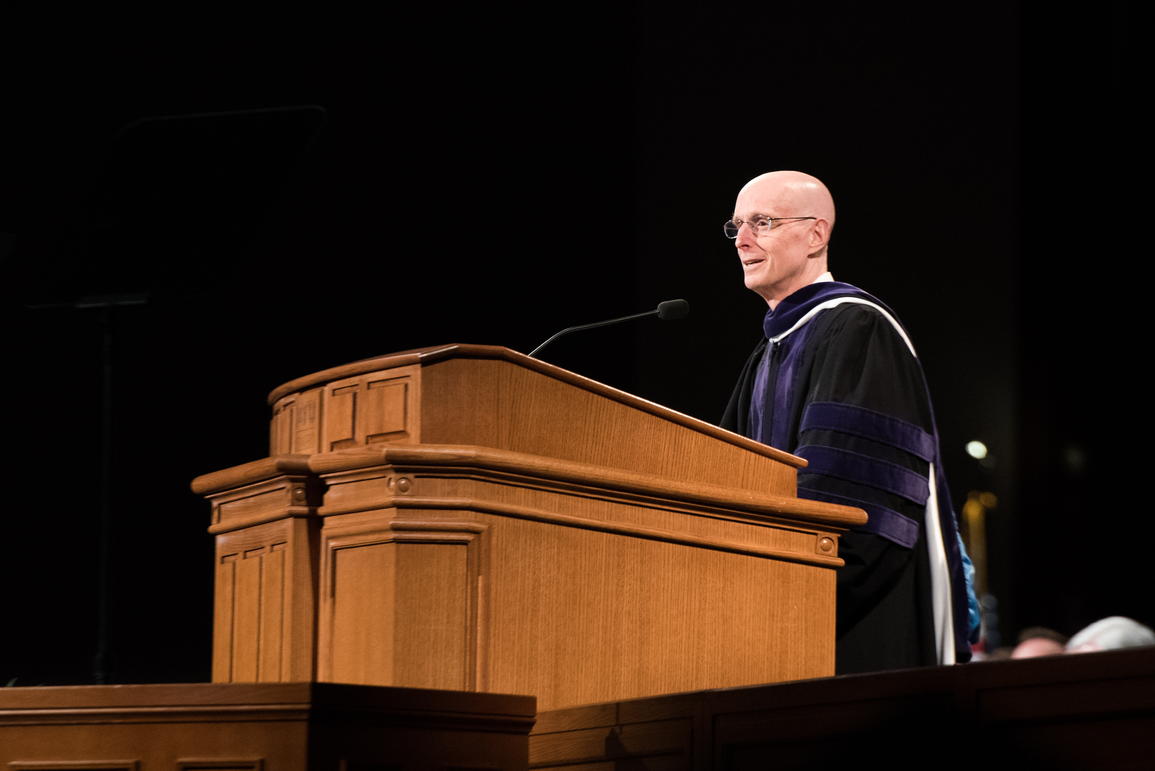 BYU-Idaho President Henry J. Eyring addresses the graduates at the Winter Semester Commencement on April 12, 2019.